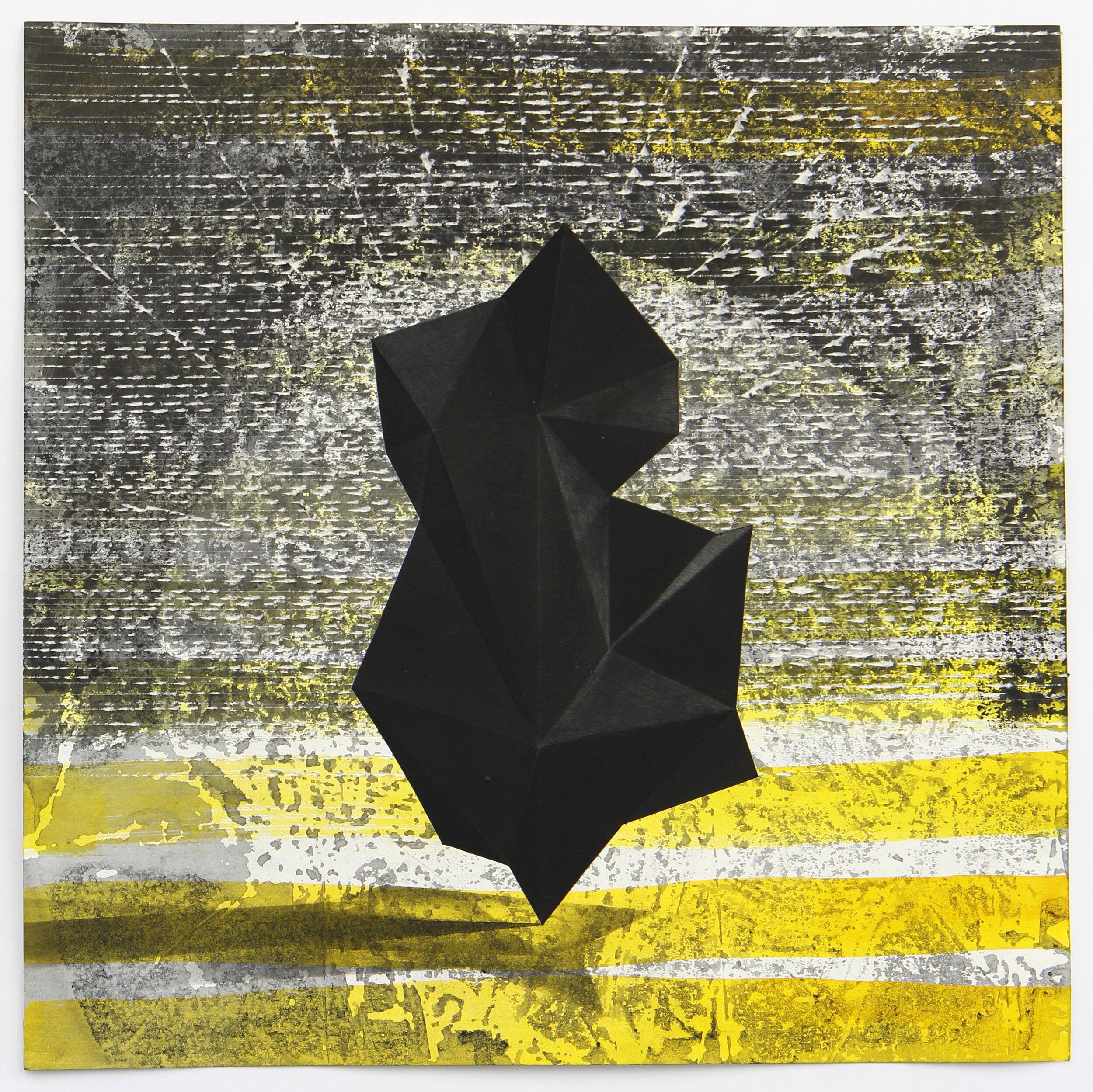 Lenneke van der Goot - Black Sculpture, 30 x 30 cm, gemengde techniek op papier, 2019.jpeg