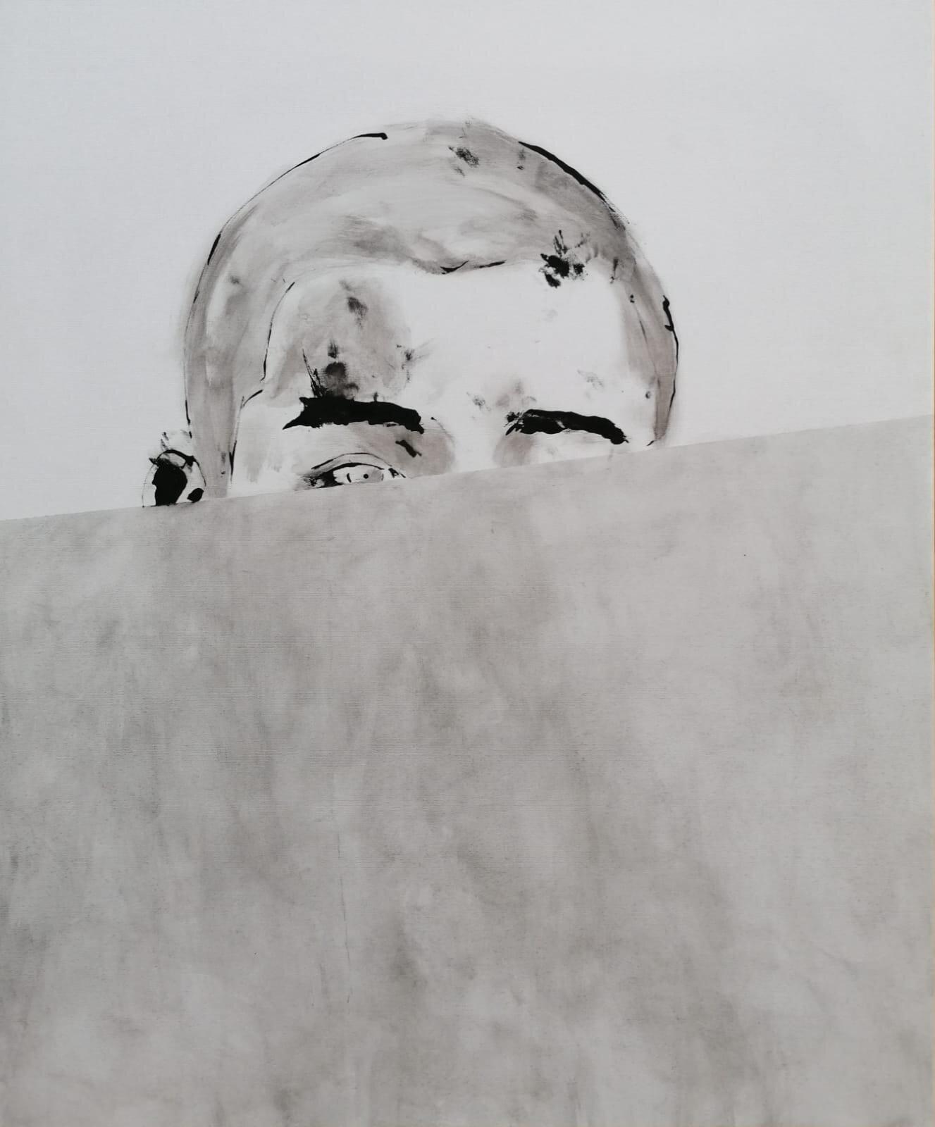 SANF049 Naoki Fuku, Peeping Boy A, ink, acyrlic and graphite on canvas, 50x60cm, 2019.jpg