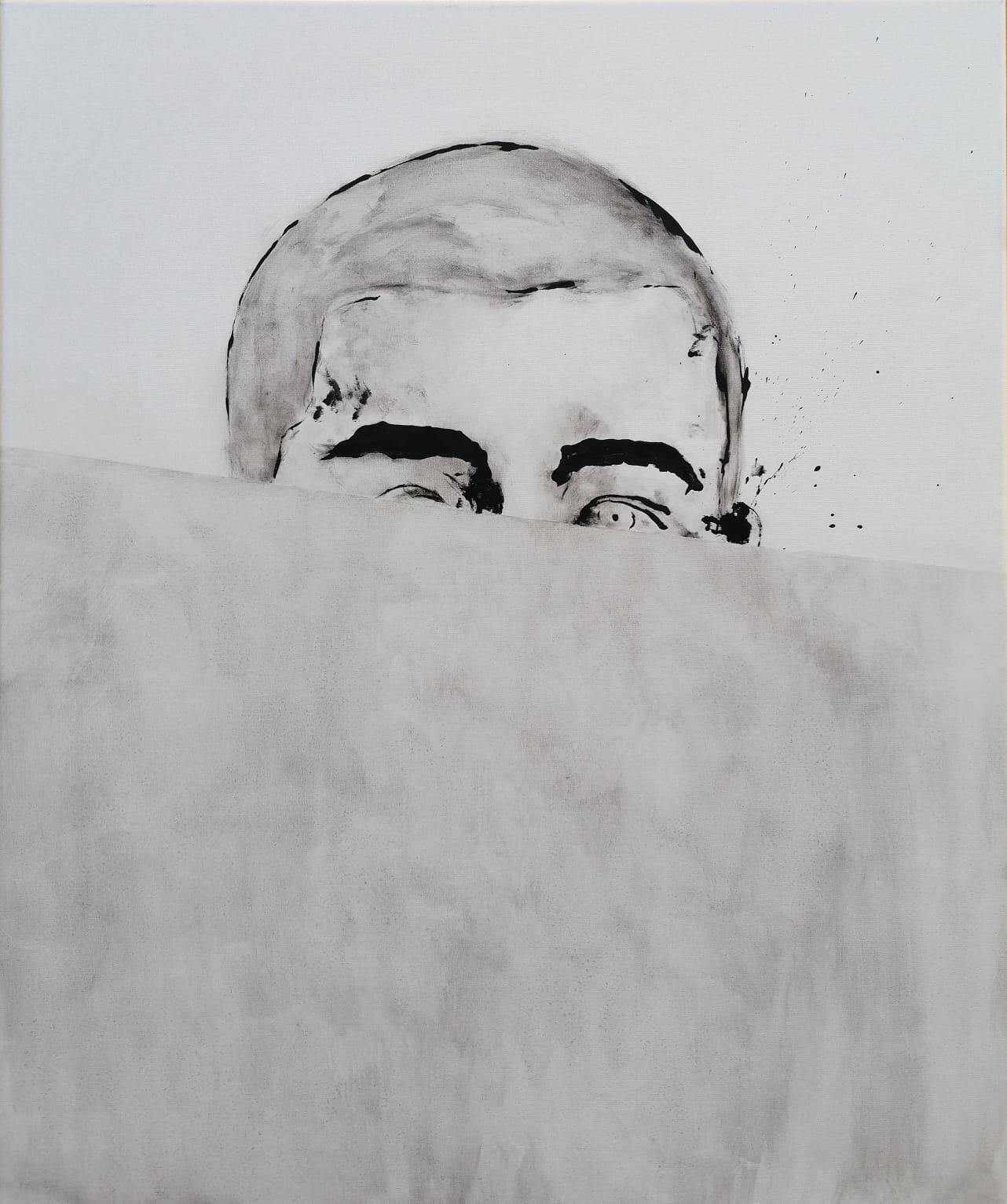 SANF050 Naoki Fuku, Peeping Boy B, ink, acyrlic and graphite on canvas, 50x60cm, 2019.jpg
