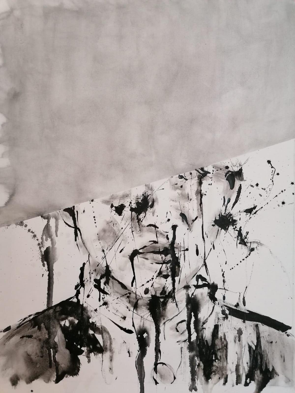 SANF051 Naoki Fuku, Untitled (Male Student B) ink, acyrlic and graphite on canvas, 40x55cm, 2019.jpeg