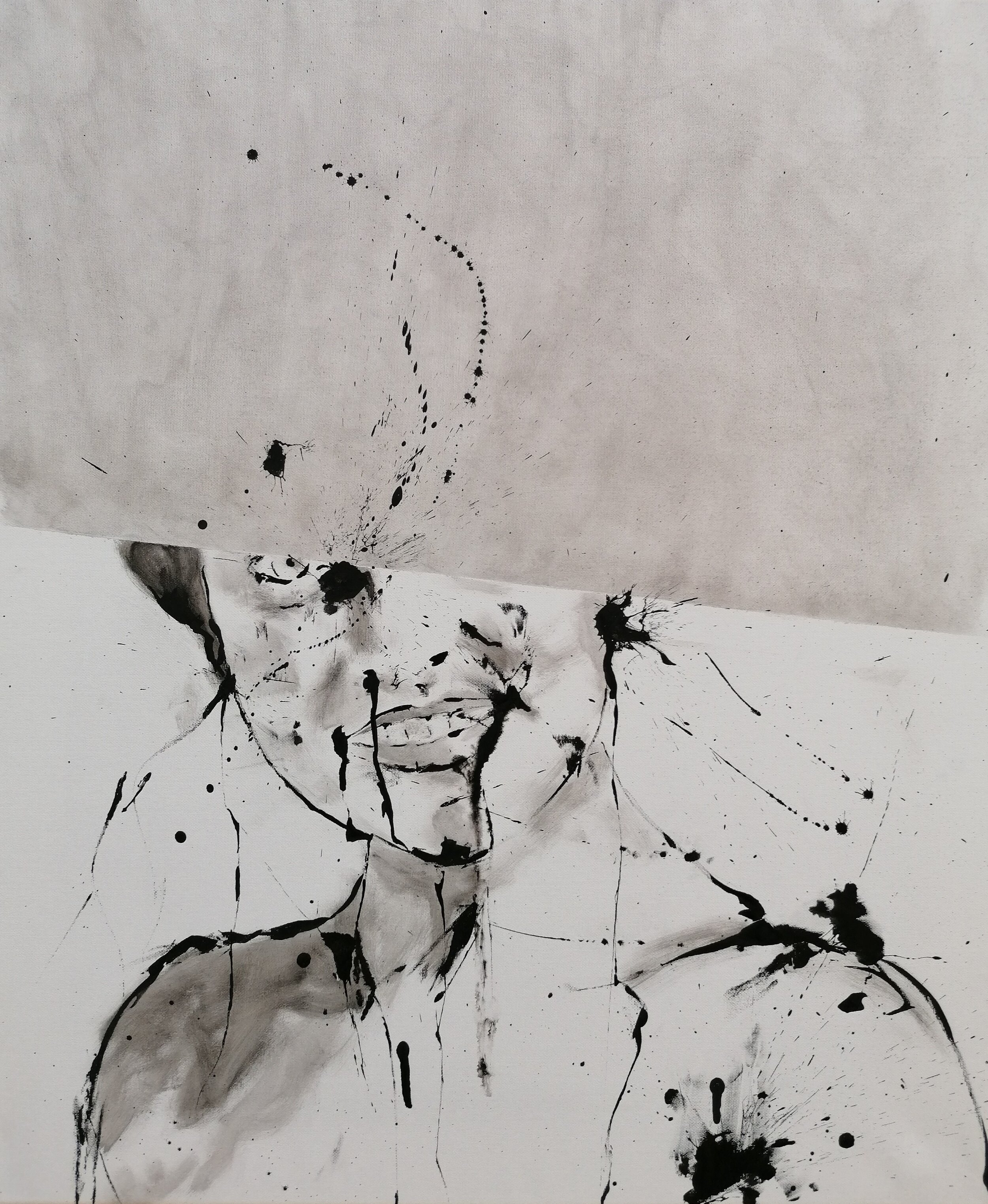 SANF053 Naoki Fuku, ink, Untitled (Female student A), acyrlic and graphite on canvas, 50x60cm, 2019.jpg