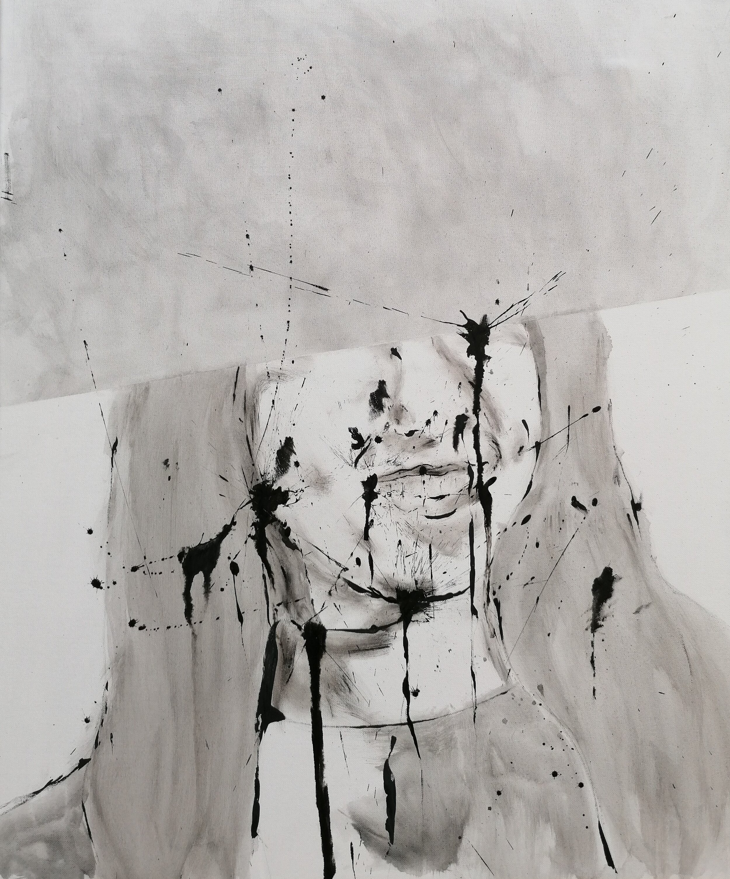 SANF054 Naoki Fuku, Untitled (Female student B), ink, acyrlic and graphite on canvas, 50x60cm, 2019.jpg