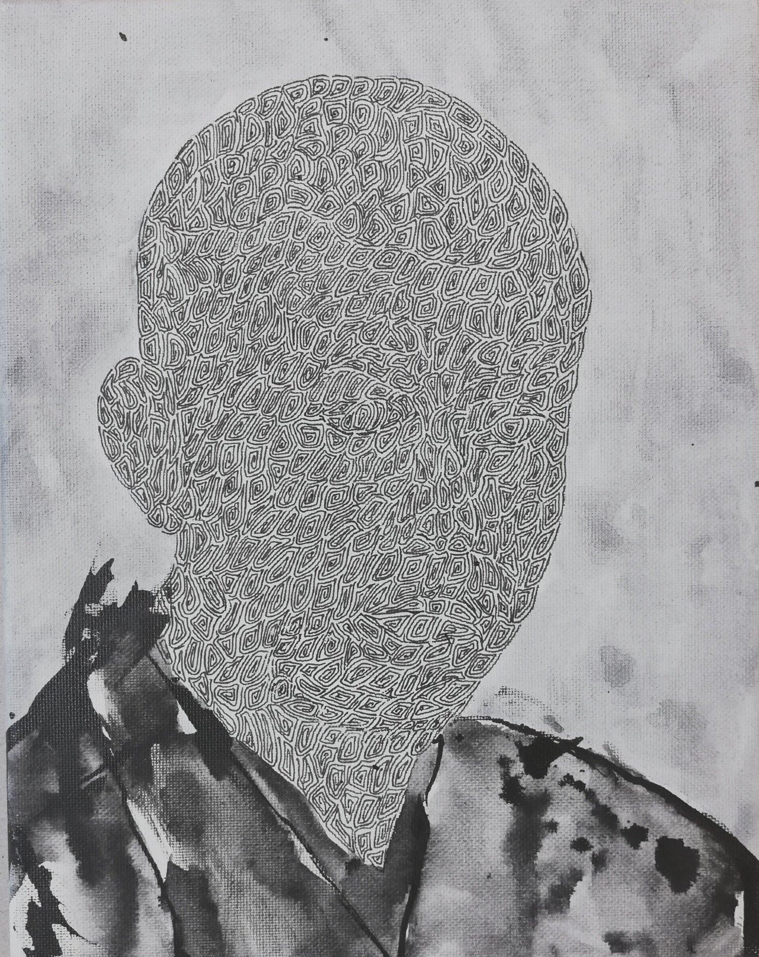 SANF055 Naoki Fuku_No Longer Human(Mushanokji)_Ink, acrylic, watercolor and brush pen on canvas_18x24cm_2019.jpg
