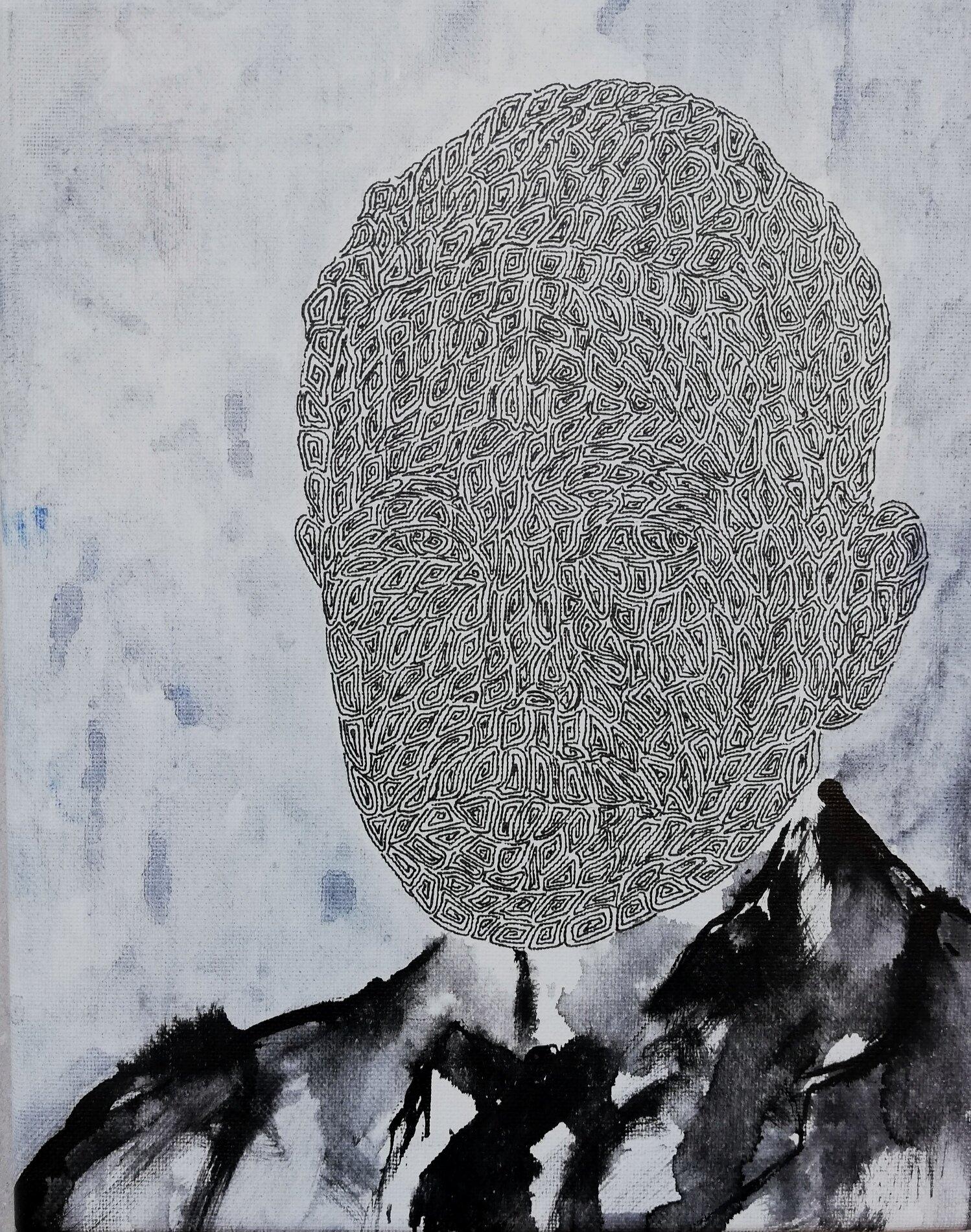 SANF057 Naoki Fuku_No Longer Human(Natsume)_Ink, acrylic, watercolor and brush pen on canvas_18x24cm_2019.jpg