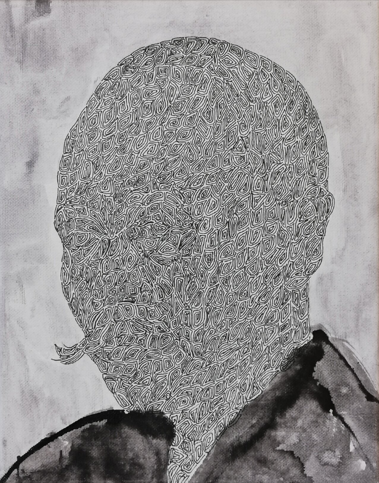SANF058 Naoki Fuku_No Longer Human(Mori)_Ink, acrylic, watercolor and brush pen on canvas_18x24cm_2019.jpg