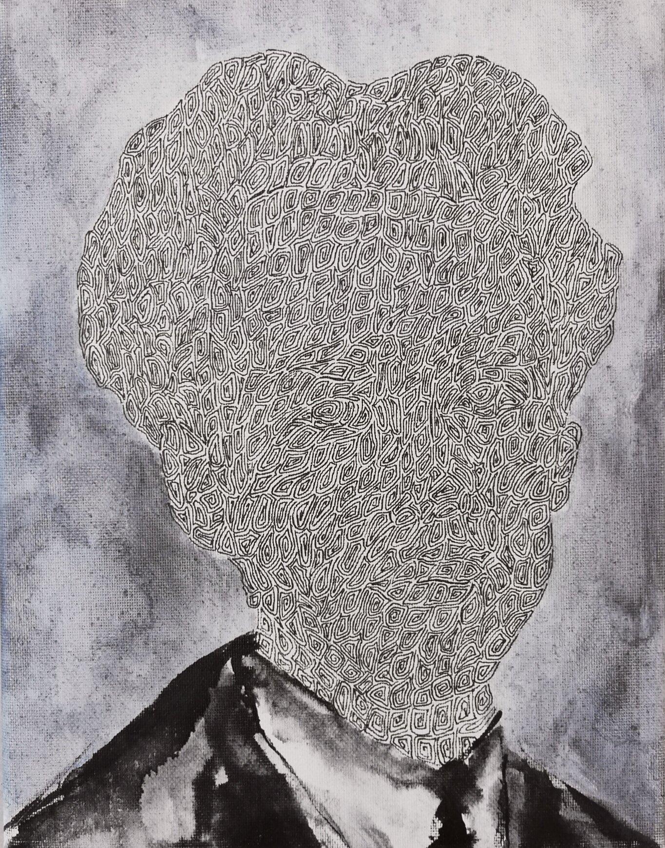 SANF059 Naoki Fuku_No Longer Human(Akutagawa)_Ink, acrylic, watercolor and brush pen on canvas_18x24cm_2019.jpg