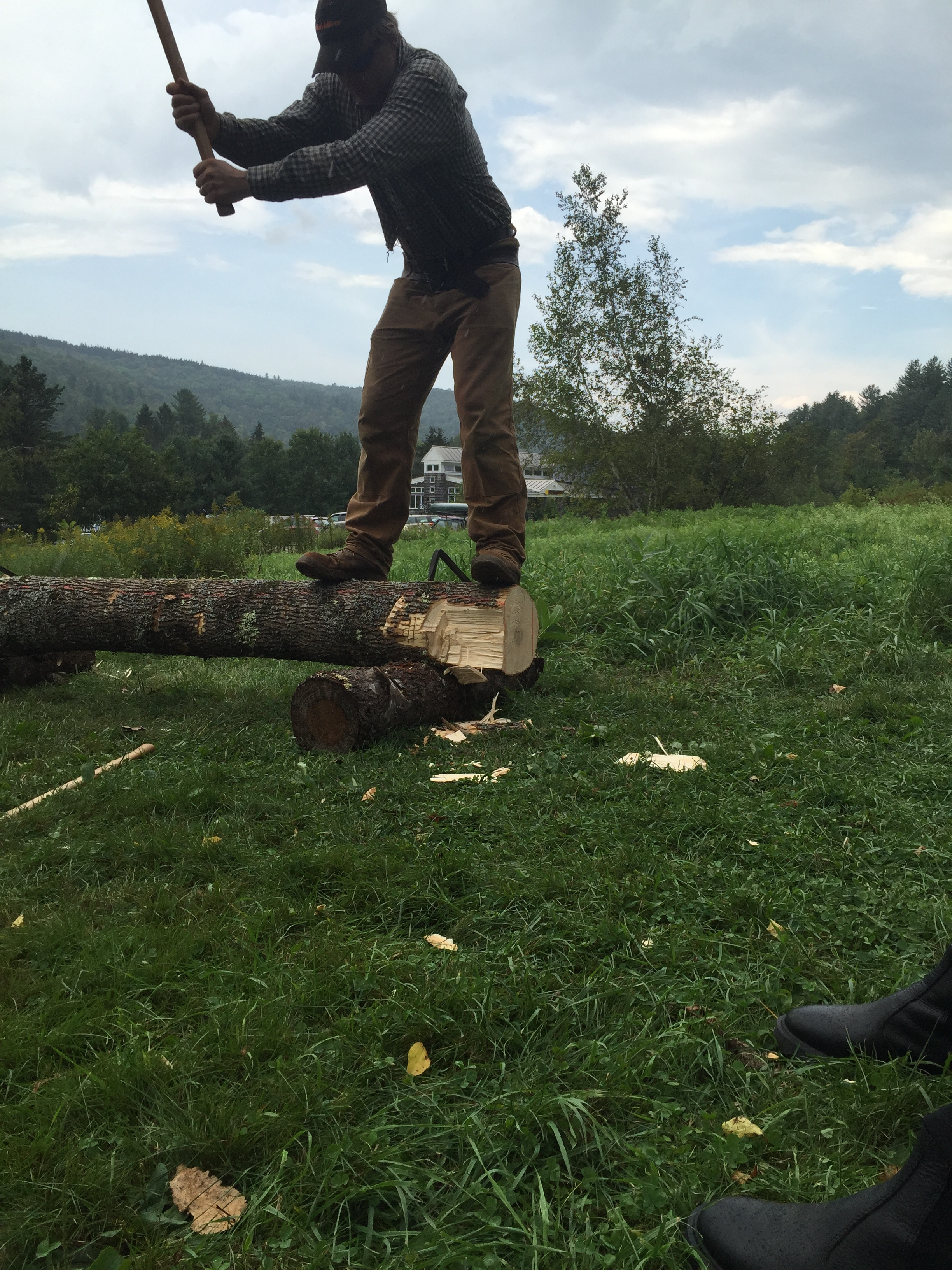"""NZ also gives a quick demonstration on """"Hewing"""". which is squaring a log using an axe"""