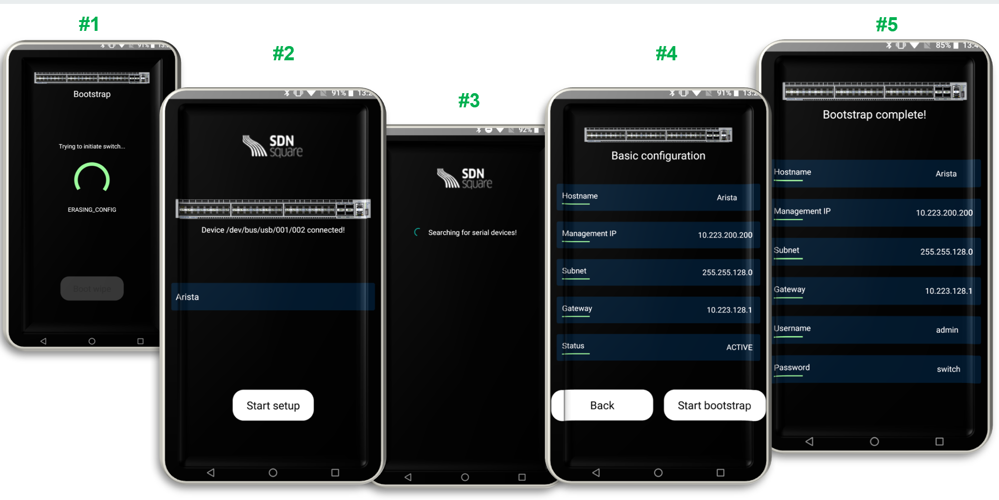 SwitchBooter APP  can be used on mobile devices to automatically bootstrap connected switches via USB or Bluetooth. The IP address is defined in the mobile app and then pushed automatically to the switches.