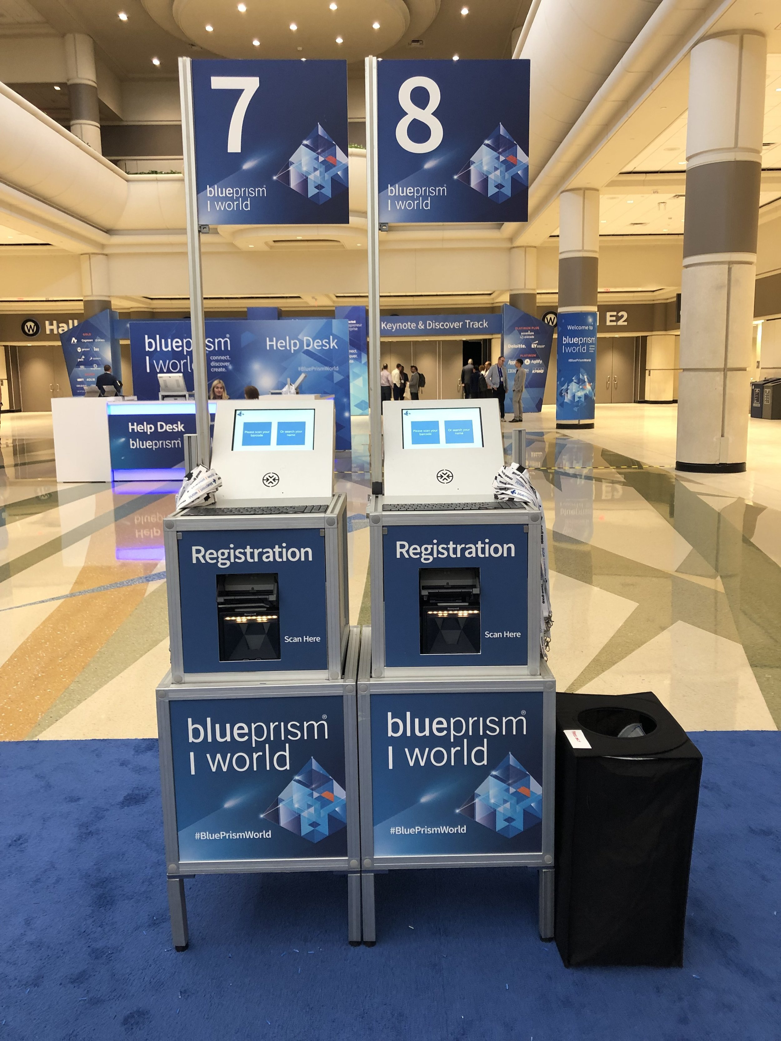 The event organizer decided to have fully branded kiosks at both events. .