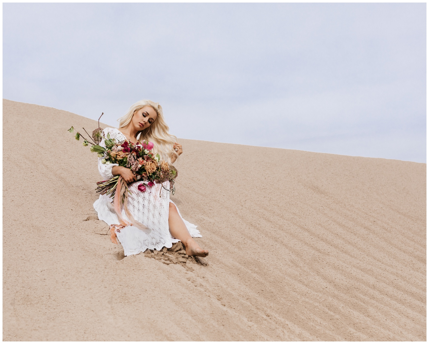Little Sahara Sand Dunes Bridal Portrait Photographer Utah