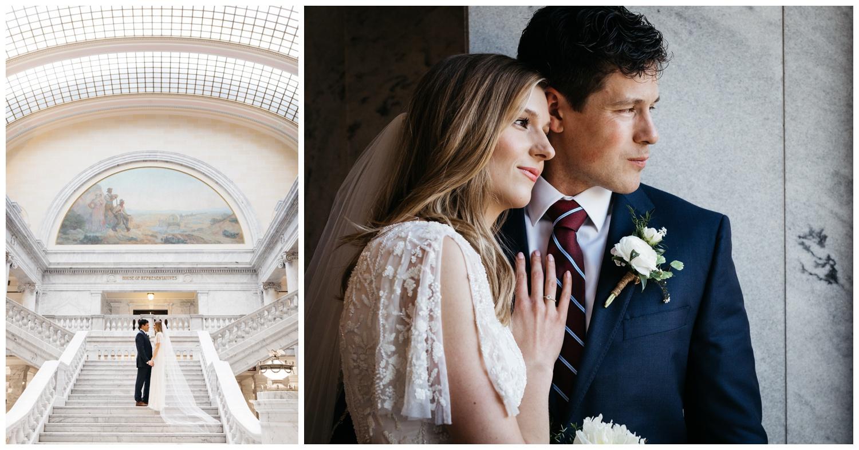 Utah State Capitol Building Wedding Portraits