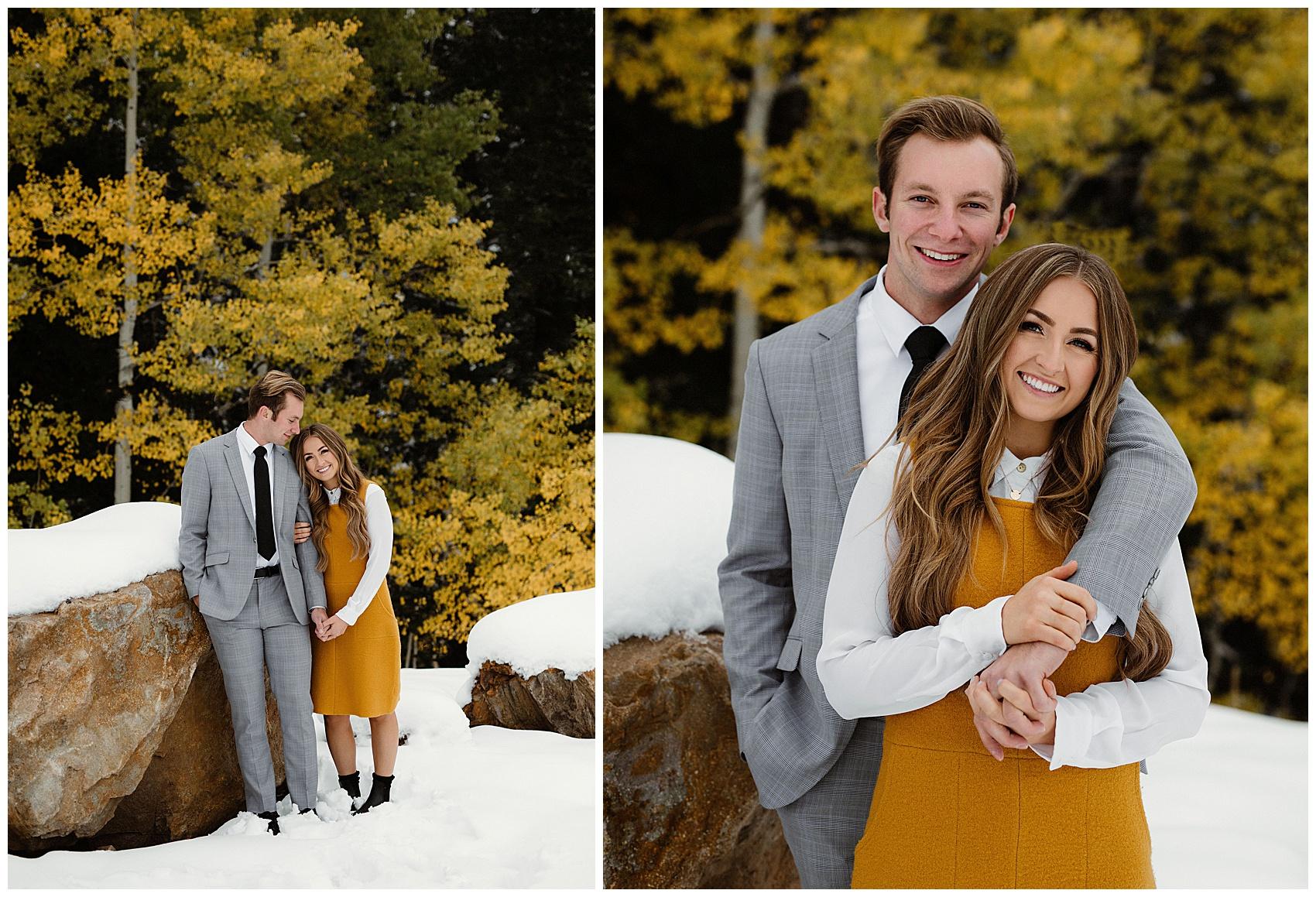 big cottonwood canyon engagement portraits