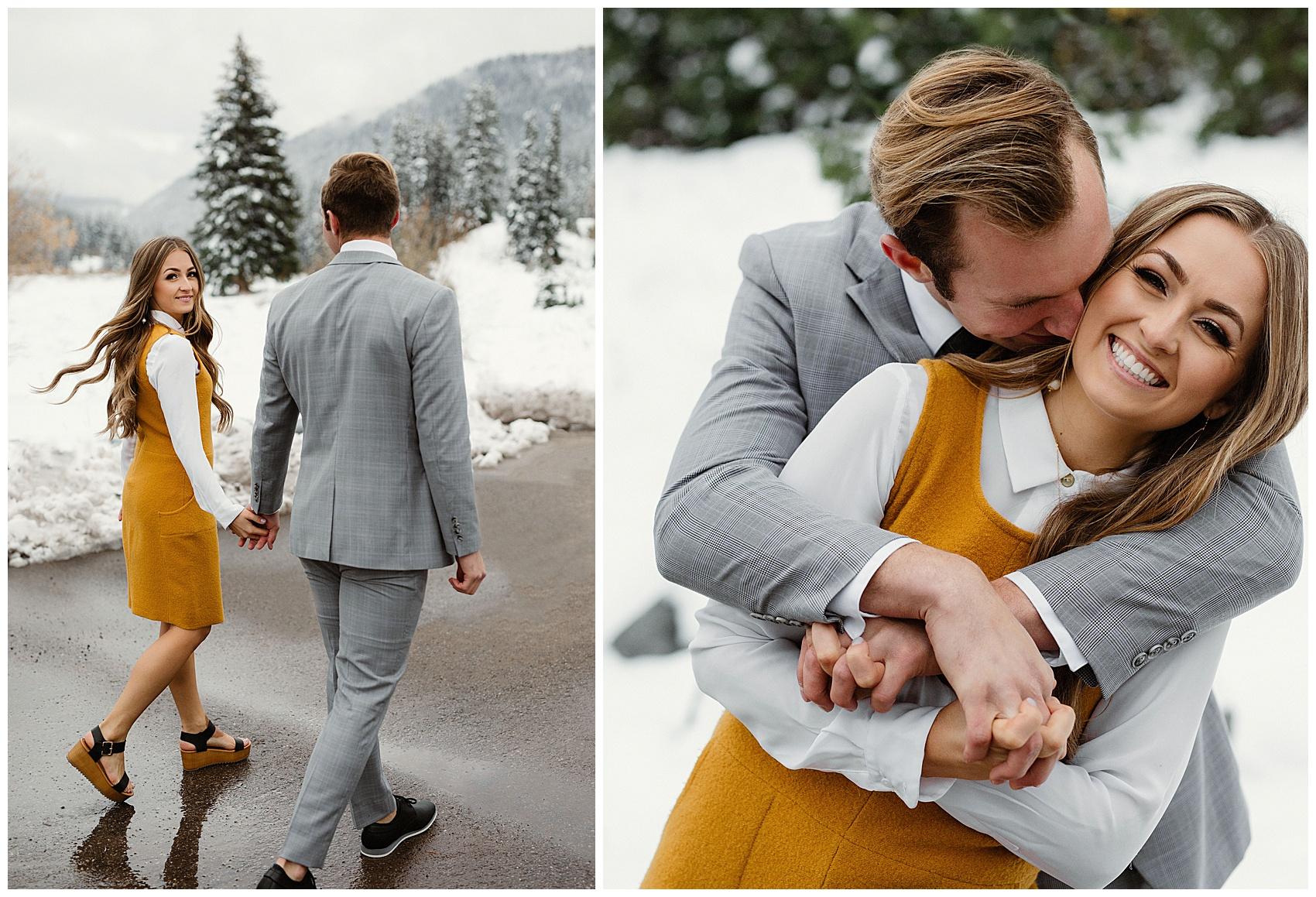 fall winter engagement photographer in utah