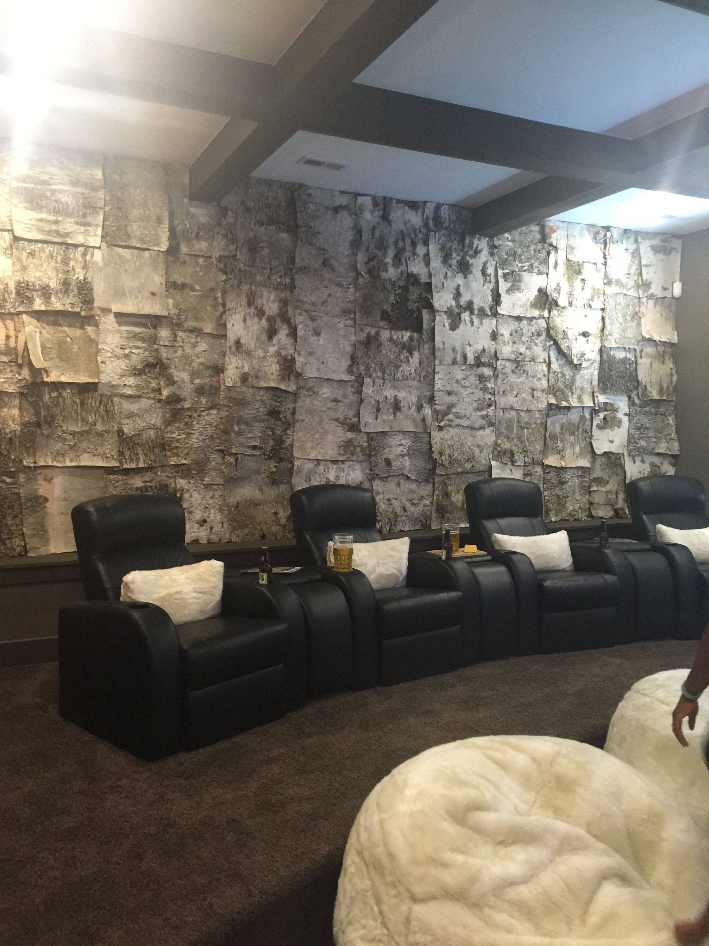 This media room (and this Fisher Home), was may favorite of the Parade of Homes. Bark walls, along with large pictures of Famous Actors (one the left side of the room), with a Huge TV above a super cool fireplace. Just the kind of room that I could spend hours in watching classic old movies, and of course,
