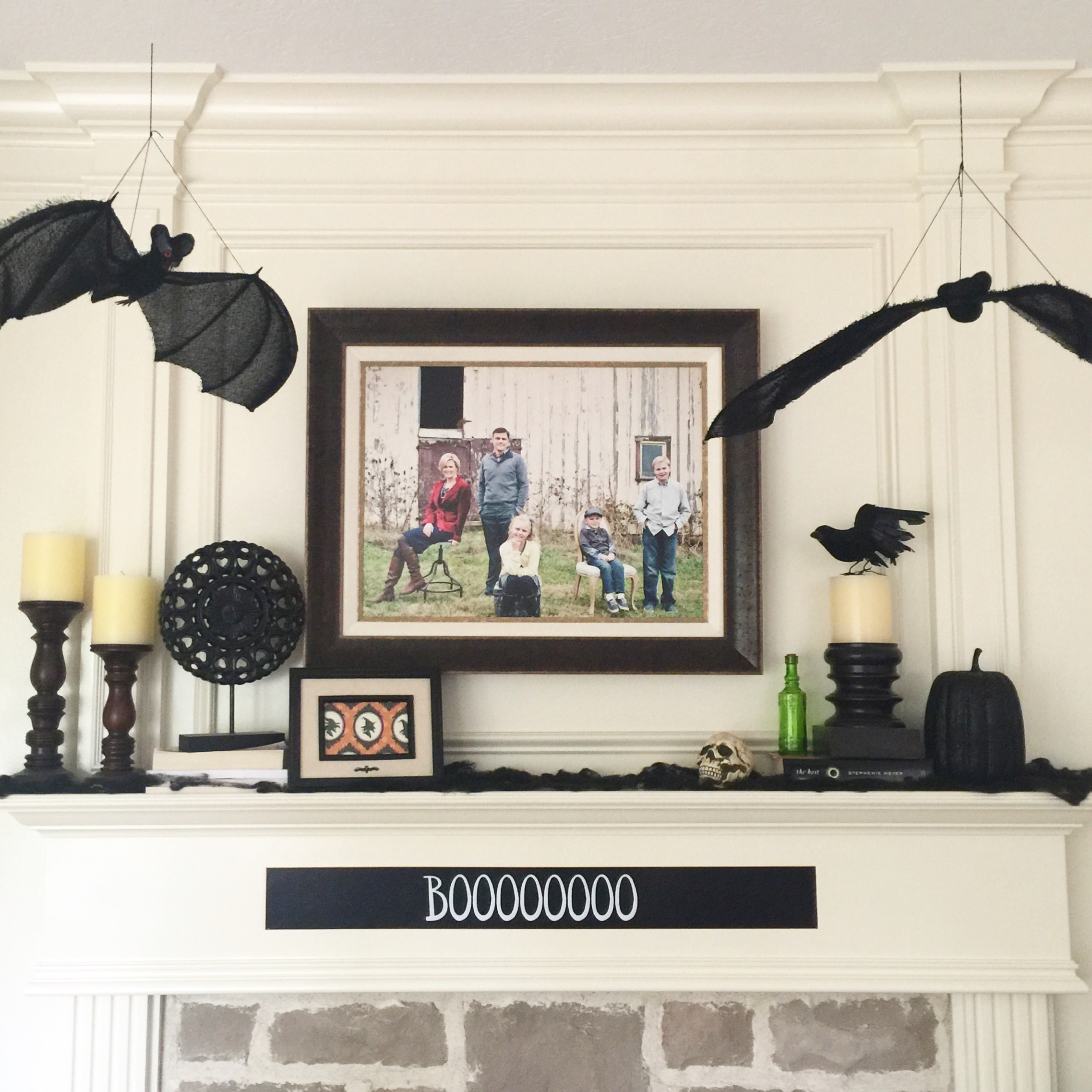 "Our Fall Mantel ~ I've loved these bats from Pier One, and I've used them on my front porch and throughout the inside of our home the last few years, so we've kind of become the ""bat home"" to friends and family!"