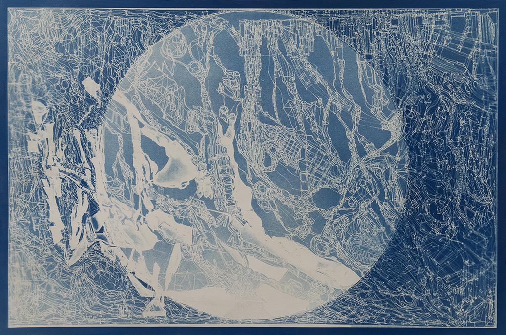 Bio City Map   is a limited edition cyanotype made from the drawing of a microcosmic world, created through the magnification of the imagination and the competing strains of bacteria that were grown on a petri dish. Each hand-made print embodies the physical collection of microbial life, applied science and observable nature.  2017 Contemporary Art Centers Collectors Club Print   Cyanotype on Paper