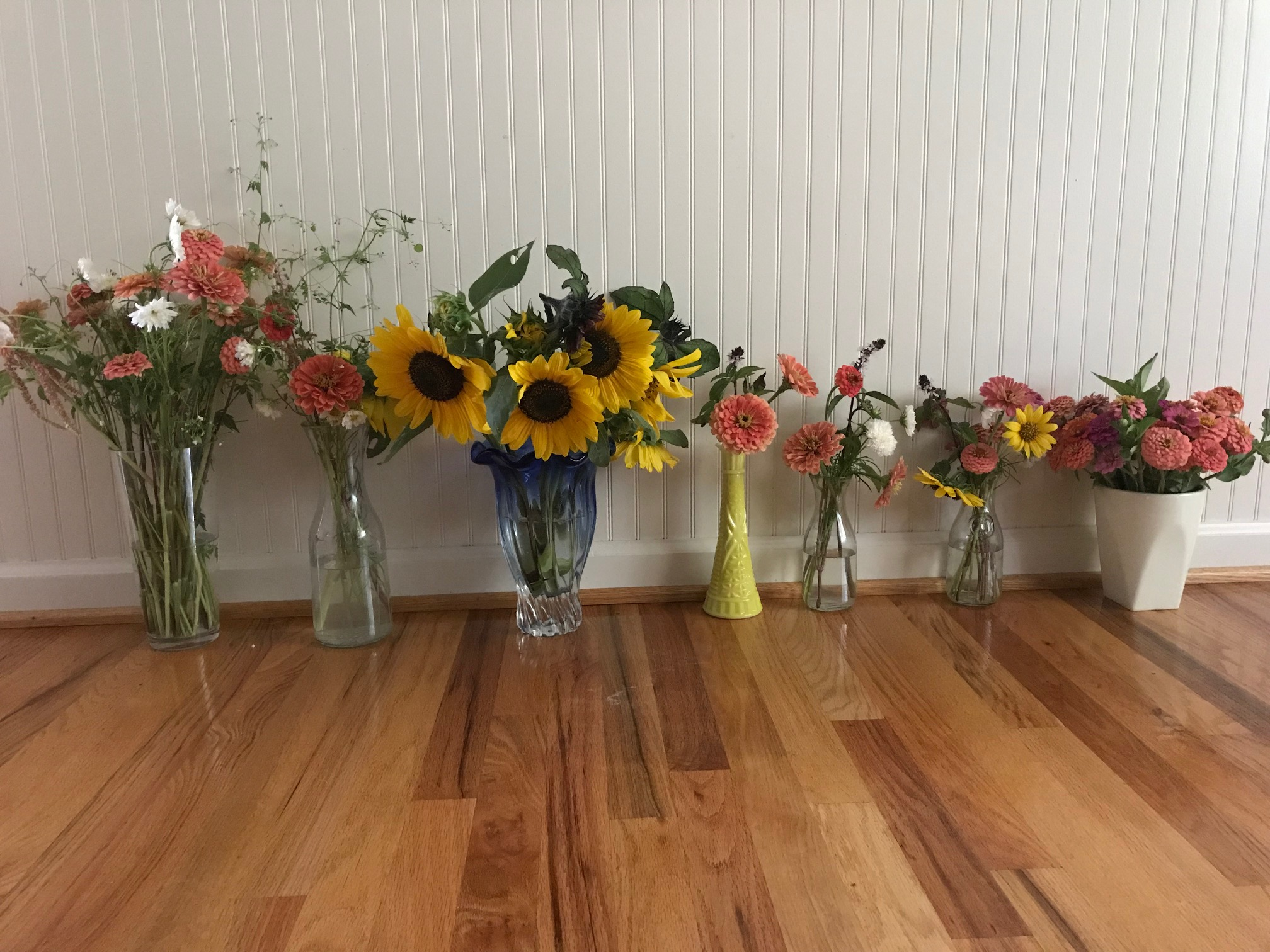 bouquets lined up