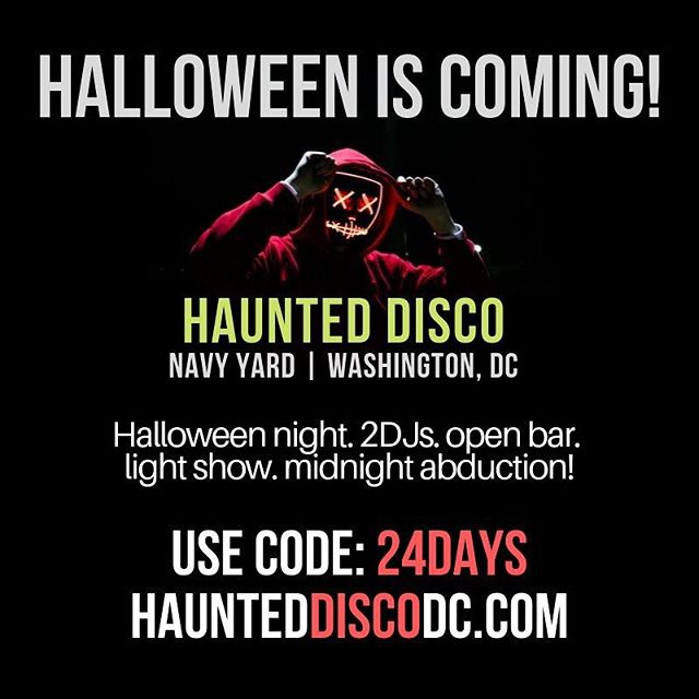 We are just 24 days away from one of our most anticipated pop-up dance parties! Get 24% off tickets for the next 24 hours using promo code: 24days | www.HauntedDiscoDC.com | Link in bio! #haunteddiscodc #halloweenfans🎃 #scorpiodjs #202creates #halloweenparty #navyyard #capitolriverfront #eventsdc