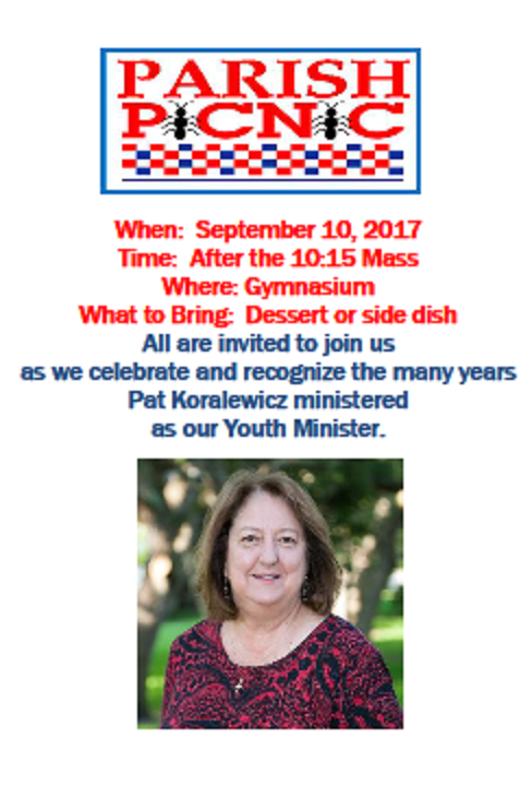 For those planning to join in celebrating Pat Koralewicz, please bring along any past photos you may have with Pat in service to our youth.  A note of thanks or memory is also welcome.