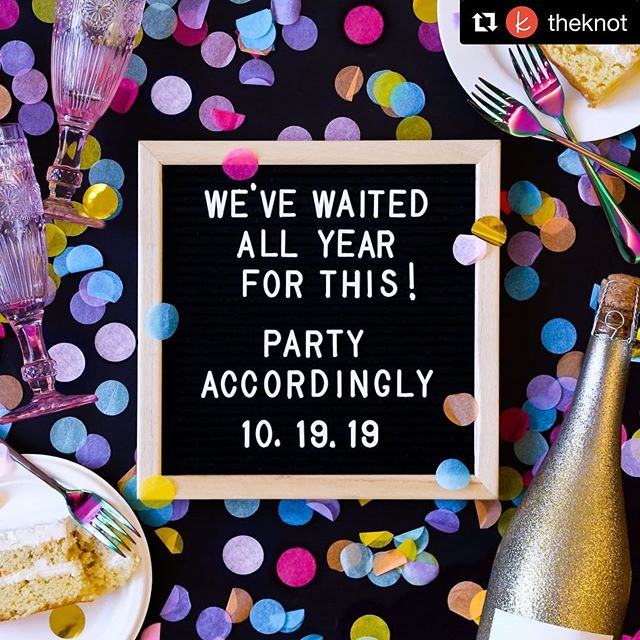 "Happy wedding day to everyone tying the knot today — the most popular wedding date of 2019! #wedding #fallwedding #weddingplannerlife  #Repost @theknot with @get_repost ・・・ Sip, sip, hooray! 🥂 Cheers to 10.19.19, the most popular wedding date of this year—over 33K couples nationwide will say ""I do"" today. 💜"