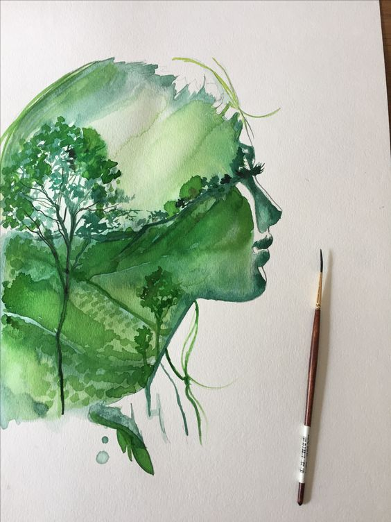 One of the first concepts we worked on. A woman with a coffee landscape double exposure.