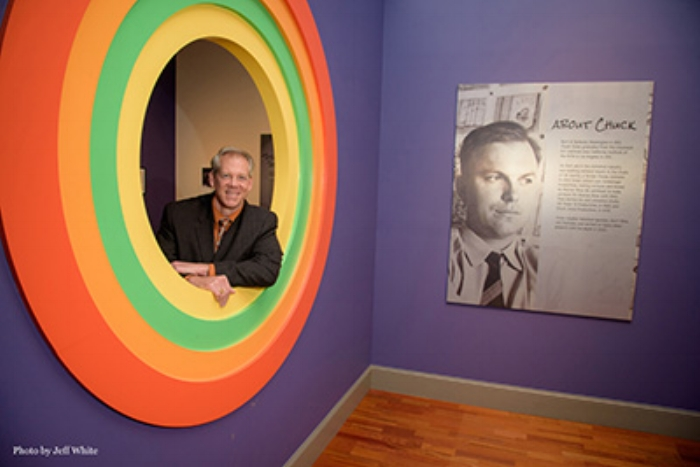 "Craig Kausen, President of Chuck Jones Gallery, photographed by Jeff White at the Smithsonian Institutes Traveling Exhibit, ""What's Up, Doc? The Animated Art of Chuck Jones at the Huntsville Museum of Art, Alabama."