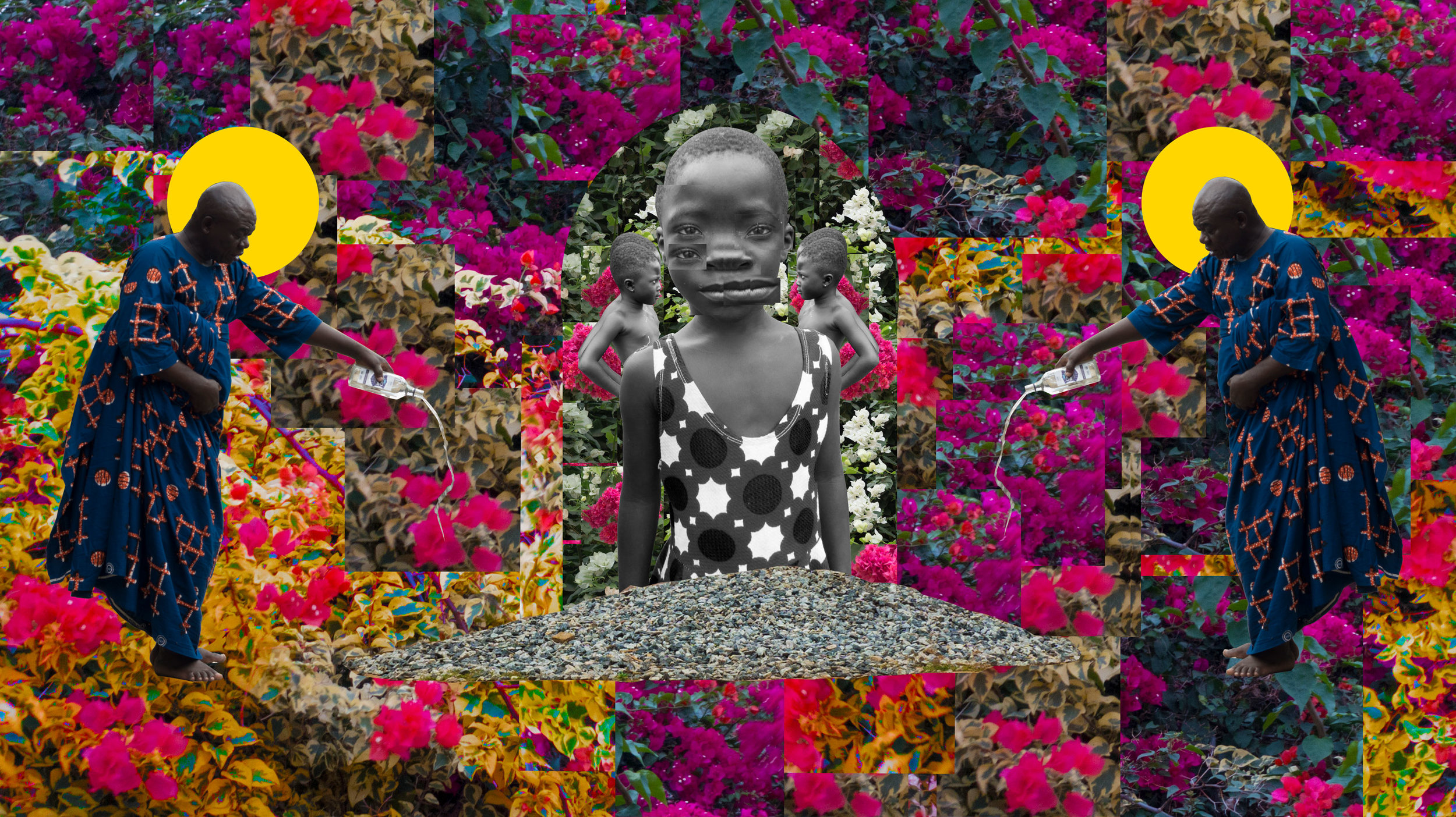 Damon Davis,  Libations For Those We Sold , 2018, 62 x 35 in., Digital Collage, Image courtesy of PRIZM Art Fair