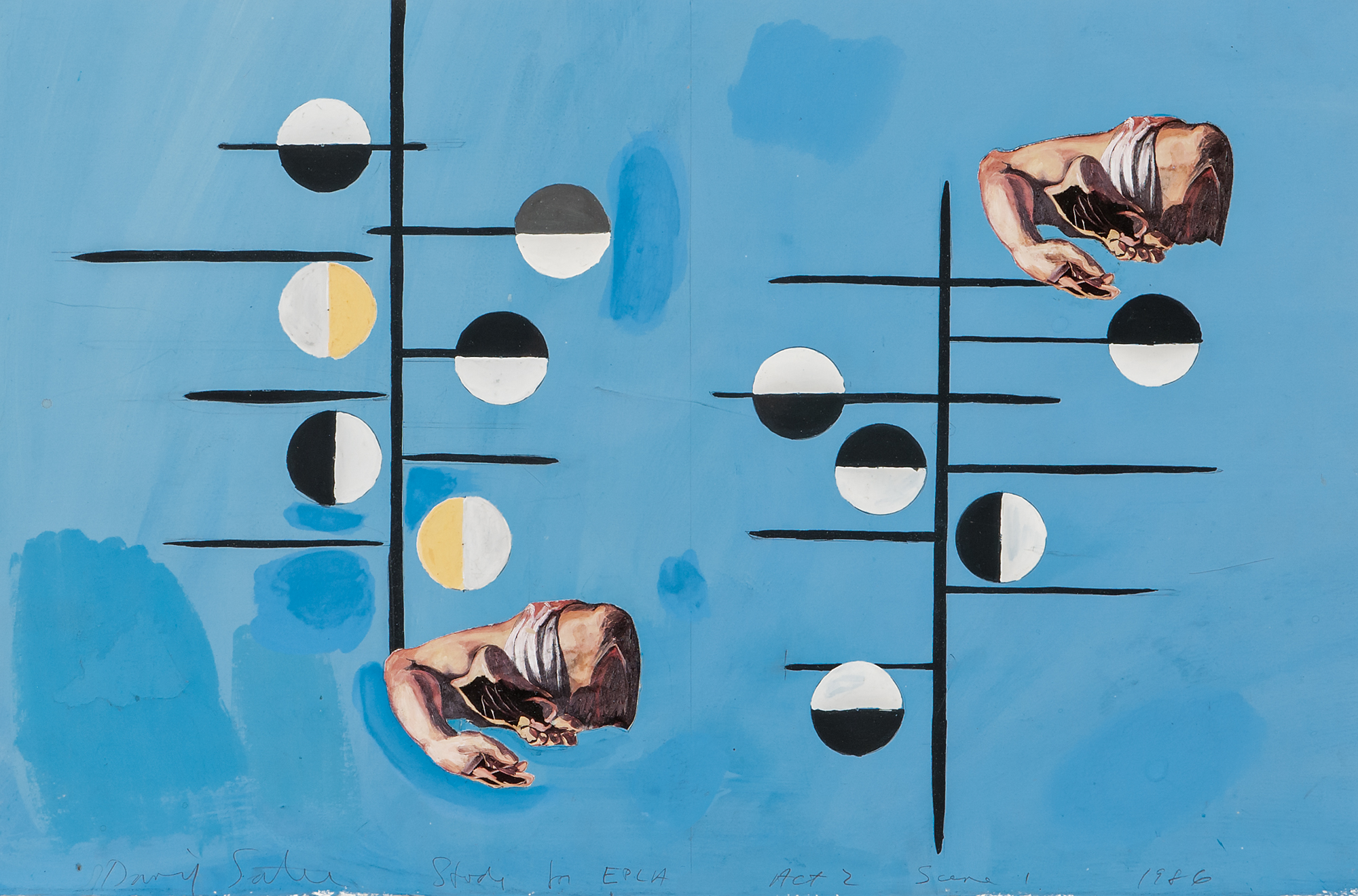 David Salle,  Seven Stage Designs for The Elizabethan Phrasing of the Late Albert Ayler , 1986, mixed media