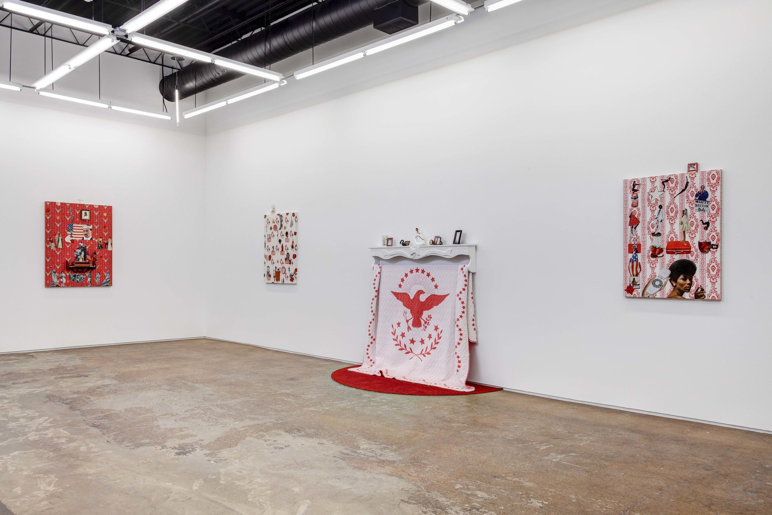 "Genevieve Gaignard, ""Black White and Red All Over,"" 2019, Installation view."