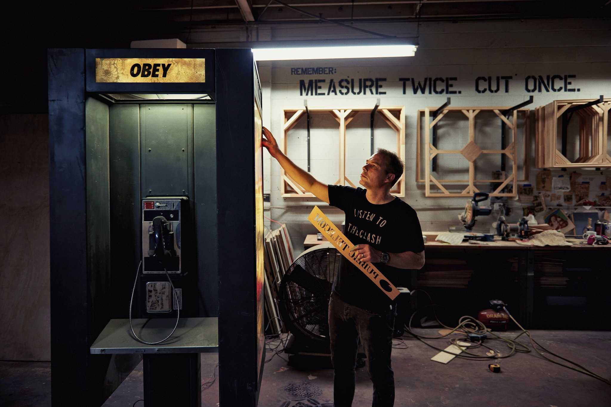 Shepard Fairey in his Los Angeles studio.