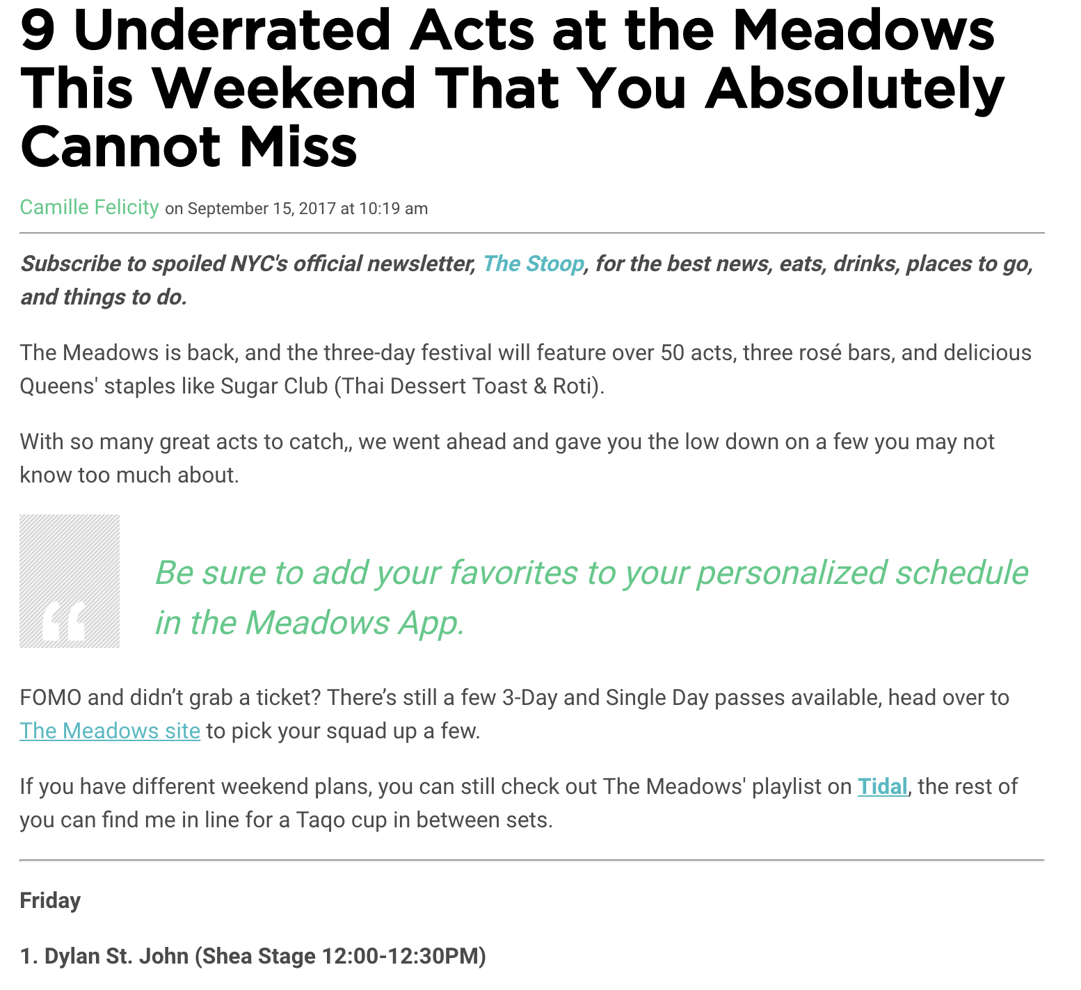 MEADOWS 2017 REVIEW
