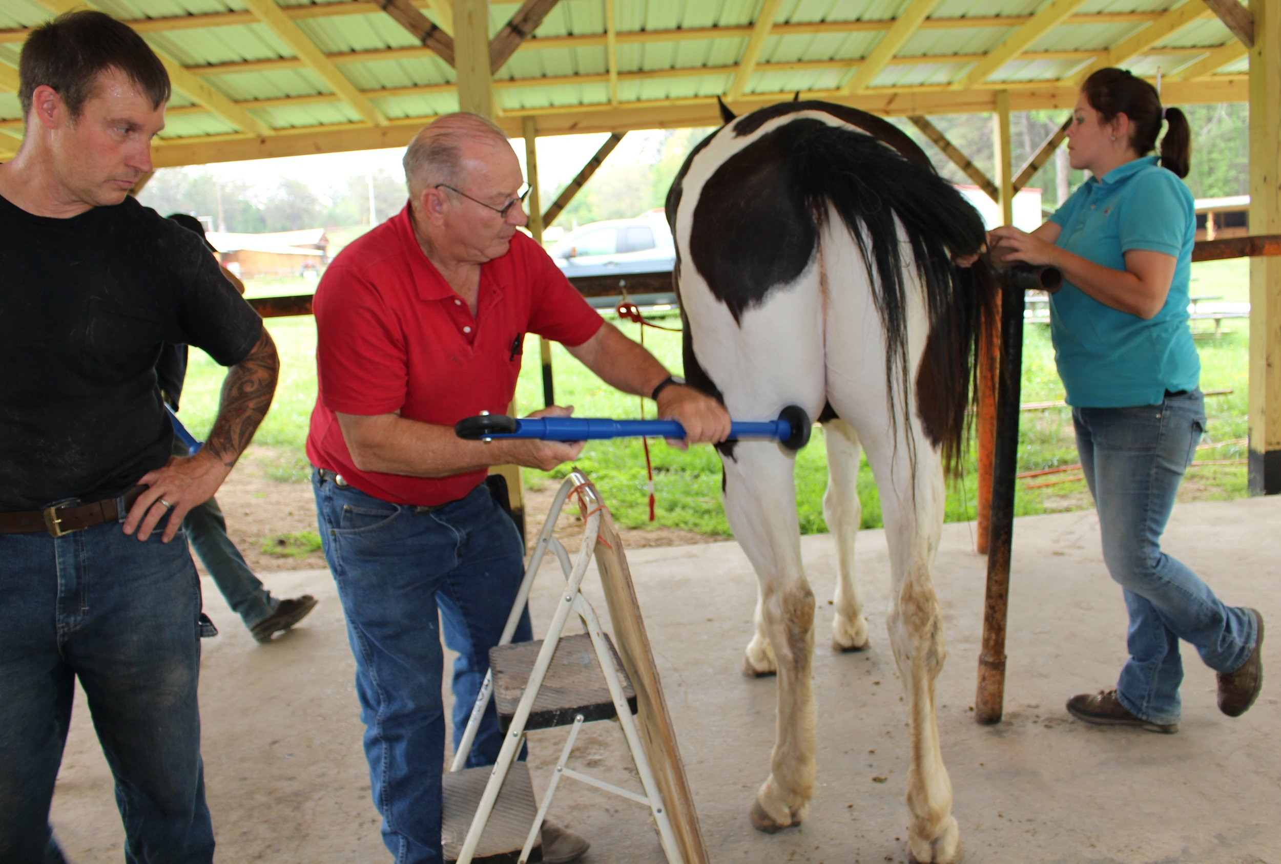 Dan Marcum EFT Instructor with Farriers during a course demonstrating his patented D-Stressor Tools.