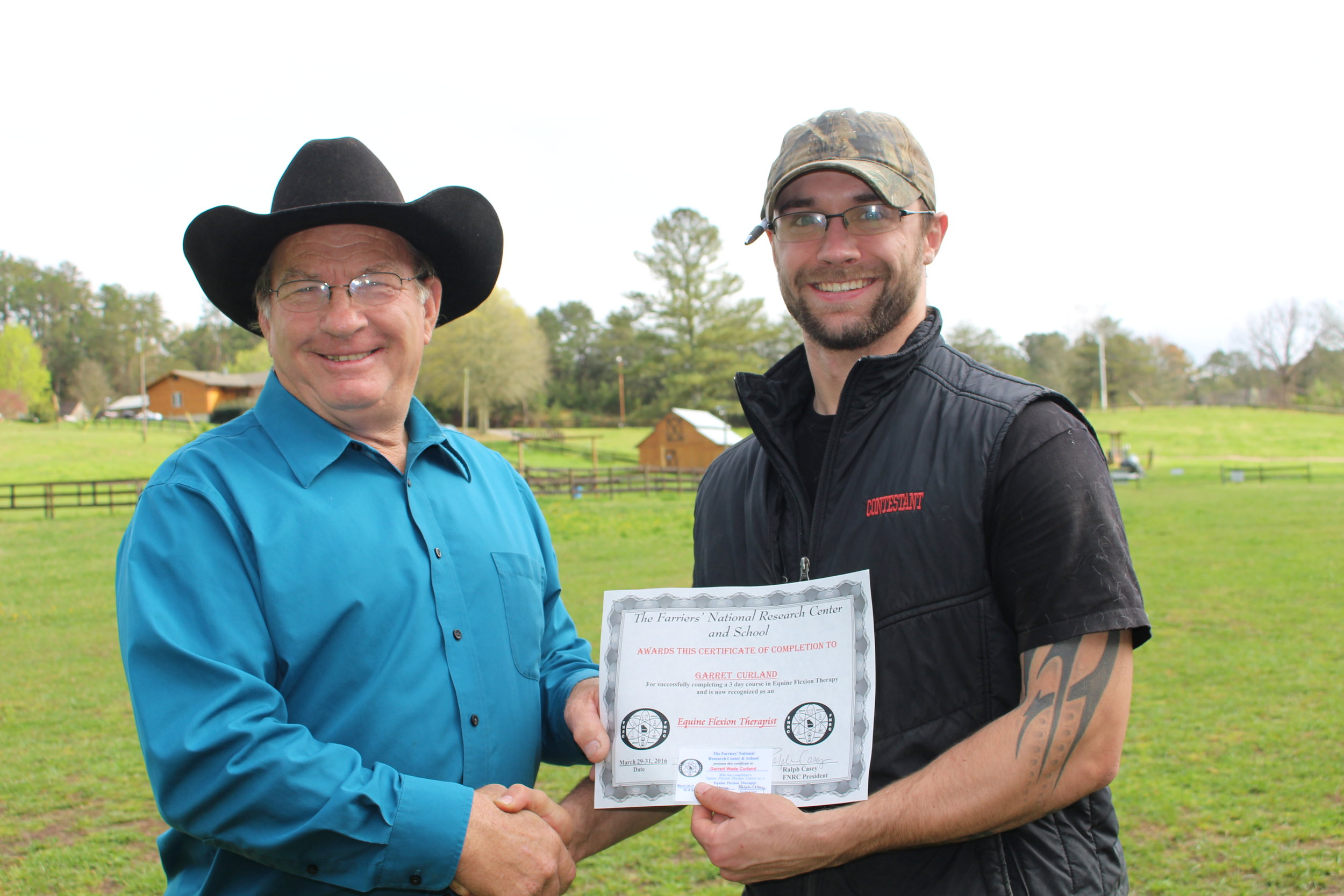 EFT graduate Garrett Curland of Pennsylvania with Dan Marcum, Instructor at the FNRC in Georgia.JPG