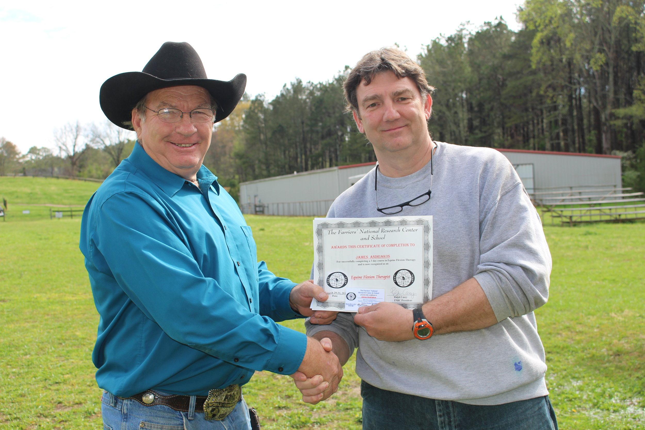 EFT graduate James Andriakos, of Illinois with Dan Marcum, Instructor at FNRC in Georgia.JPG