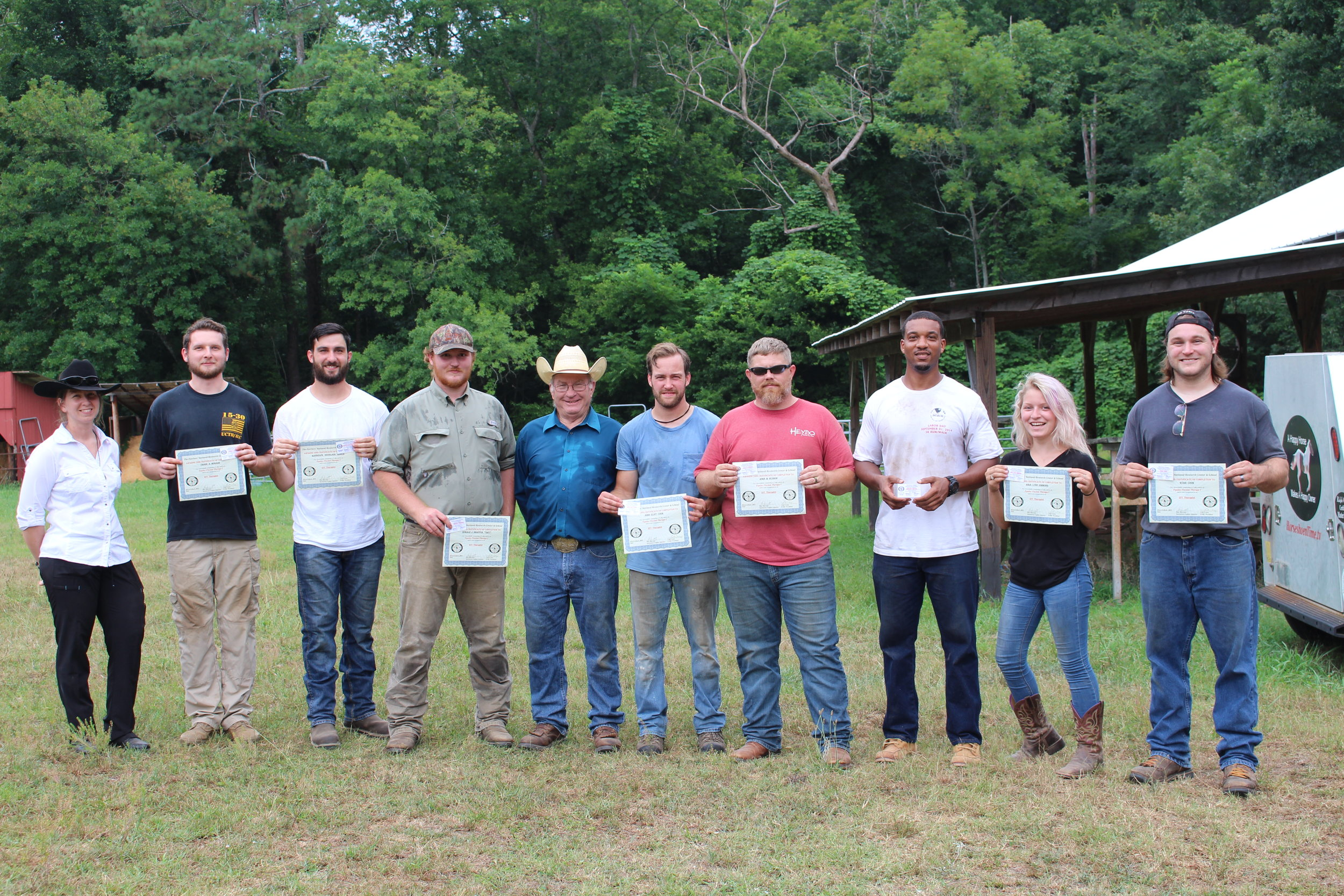 EFT Graduate Students with Dan Marcum, EFT Instructor,Farrier & Daniela Schatz EFT certified,  FNRC, GA 7.11.19.JPG
