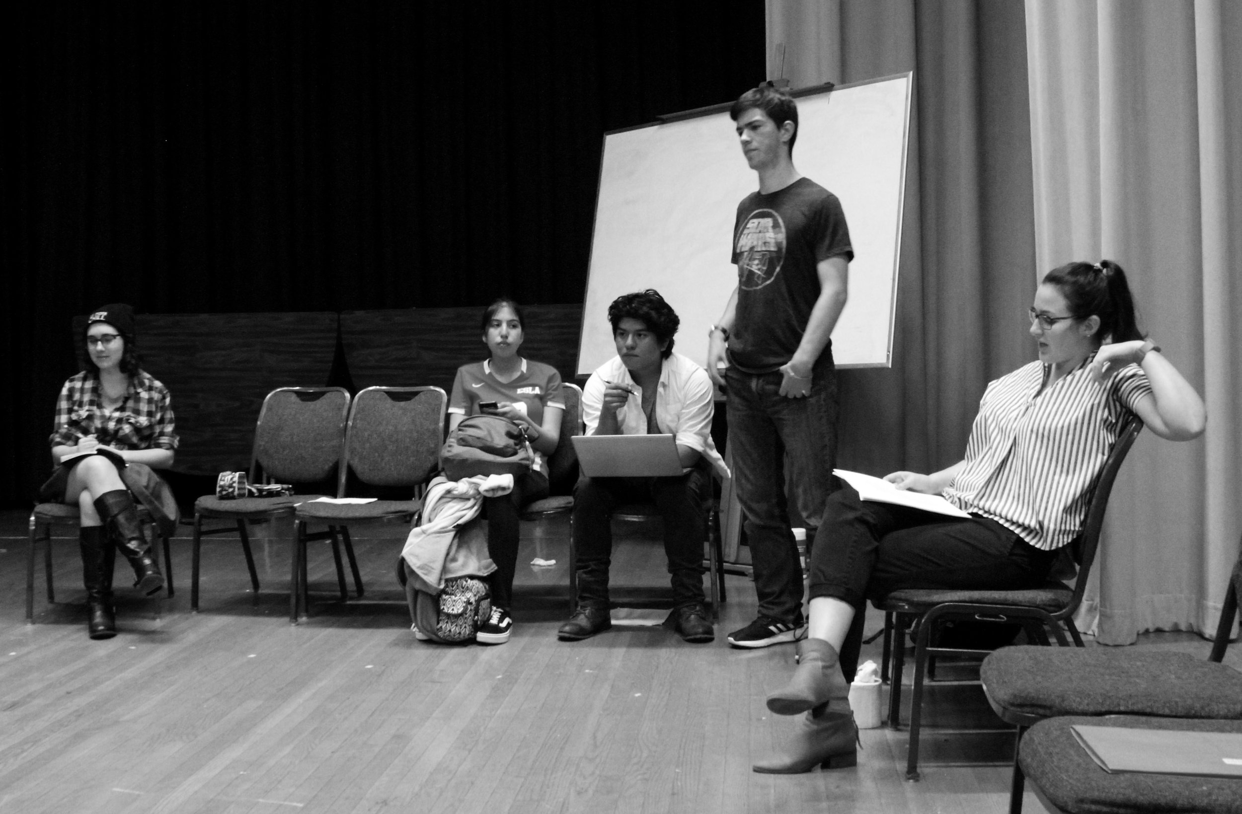 Whodunit? Students continue rehearsal for Agatha Christie's  The Mousetrap.