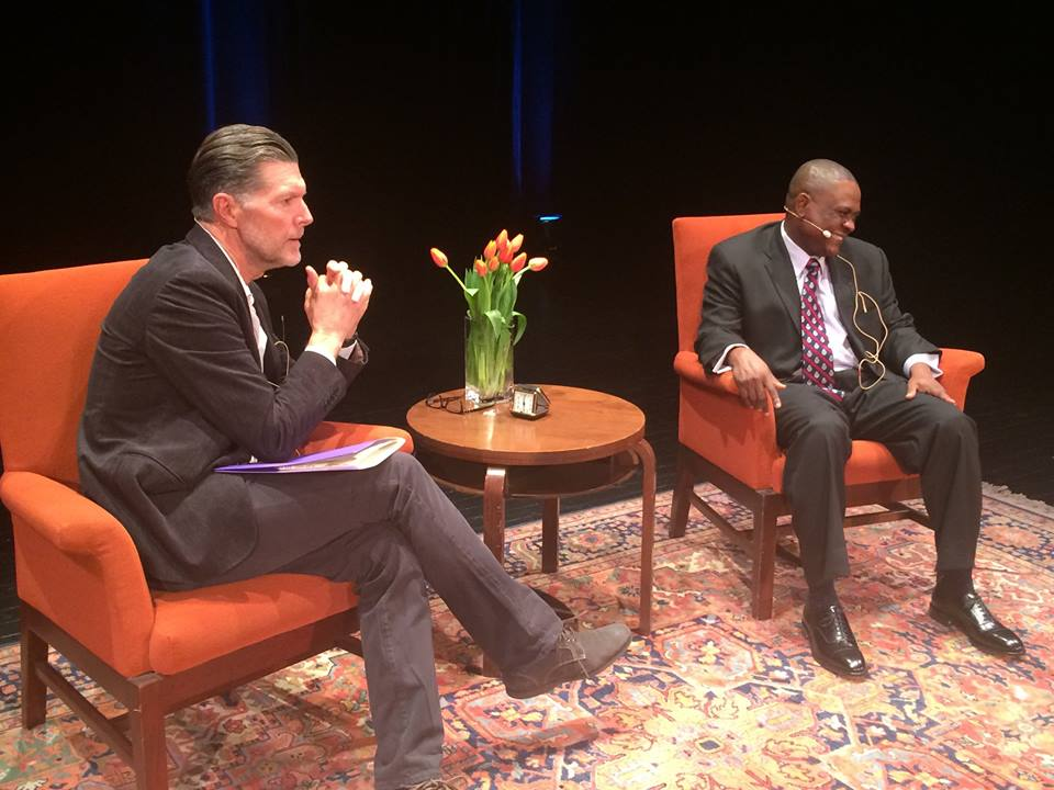 Left to right, Stone Phillips and Bennet Omalu at City Arts and Lectures in San Francisco February 4th, 2016