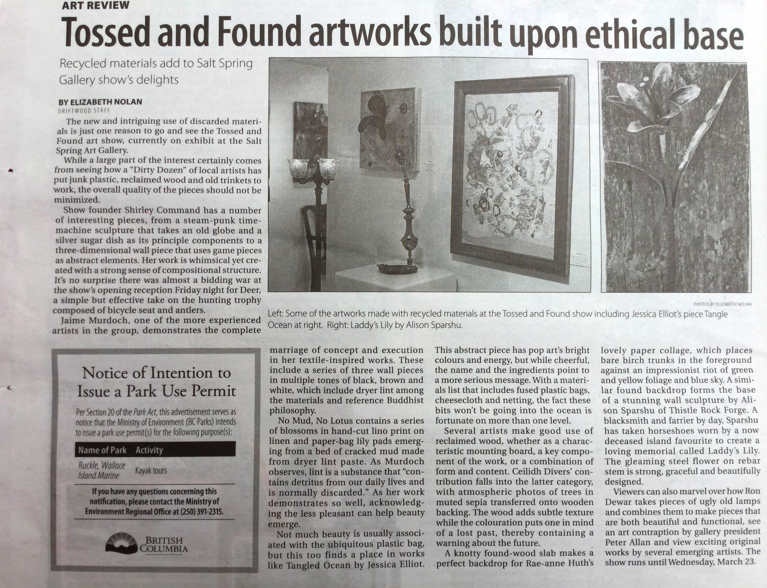 Lovely review of the show by Elizabeth Nolan, Driftwood Wednesday March 16, 2016.