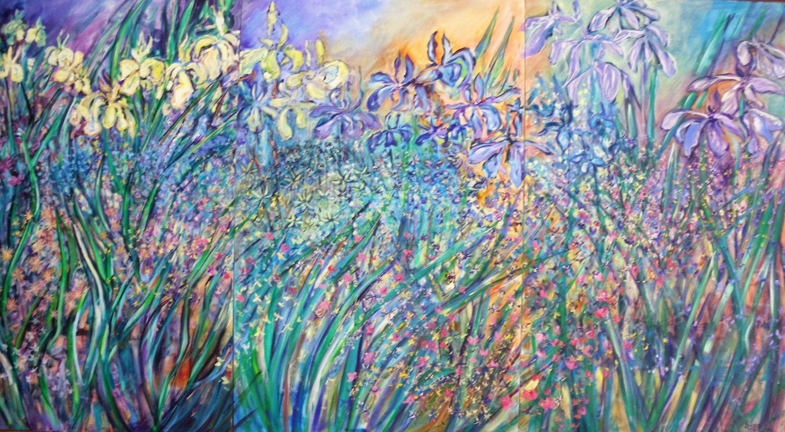 """Water Garden 48"""" X 90"""" (3x30"""") triptych $5,600.00"""