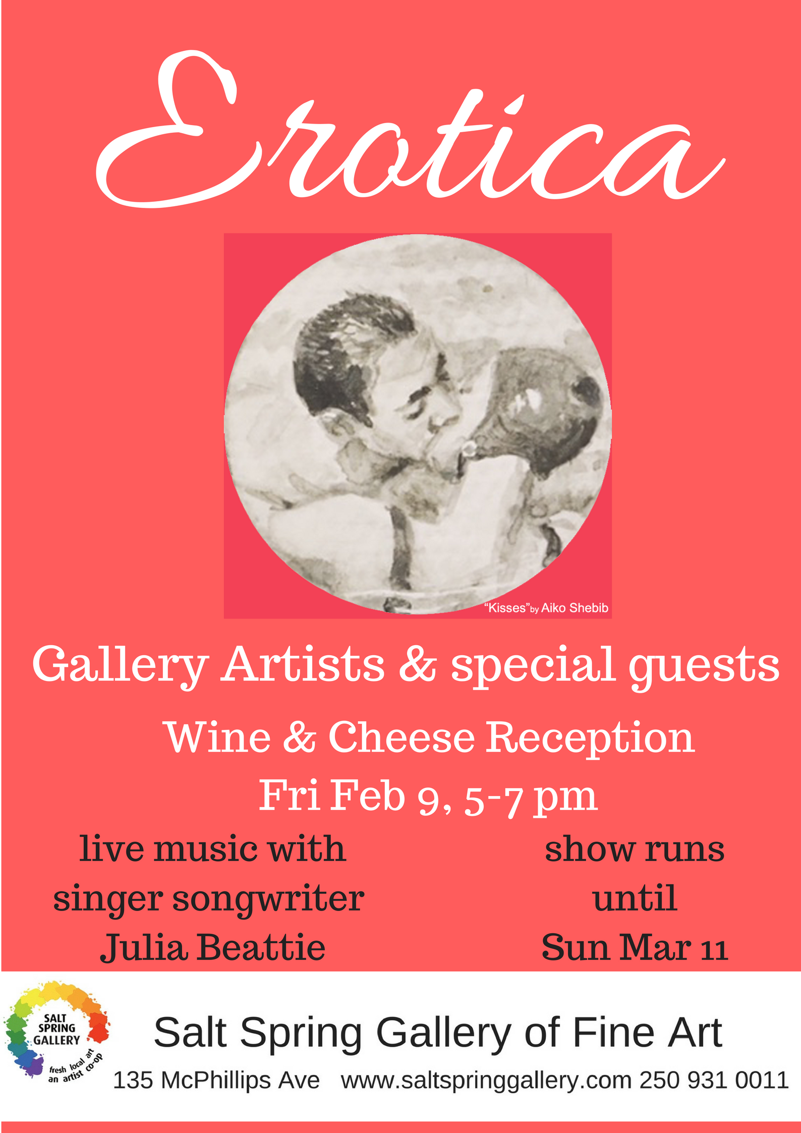 - Opening wine & cheese reception Fri Feb 9th, 5-7 pm.Live music with singer songwriter Julia Beattie.Show continues until Sun Mar 11th, 4pm.