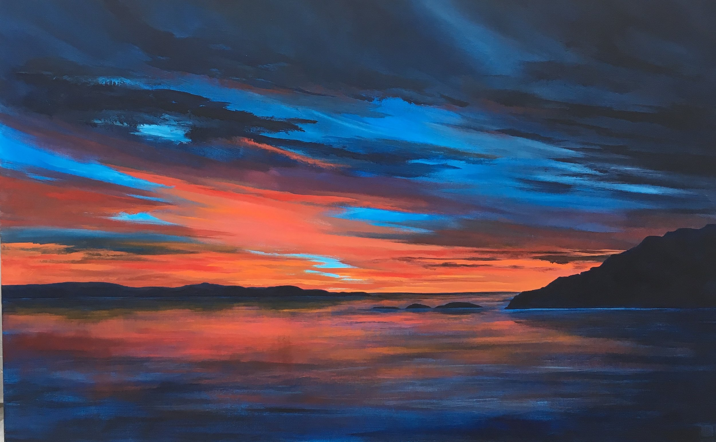 """""""Tangerine Sky""""  30""""x48""""  Acrylic on canvas by Allison Brodie"""
