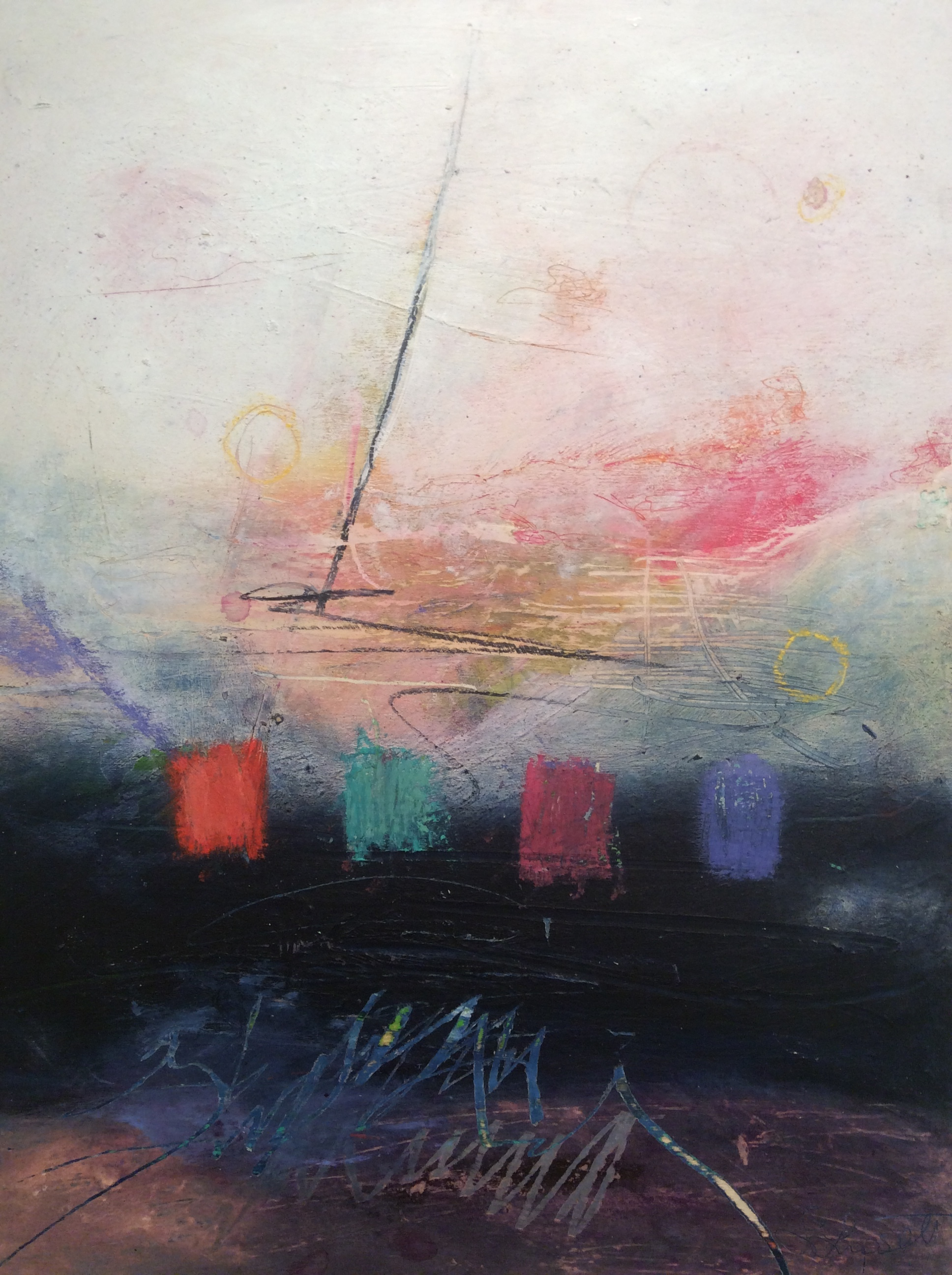 """Harbour Lights I  16"""" x 20"""" Oil, pastel, earth pigment & cold wax on wood. SOLD"""