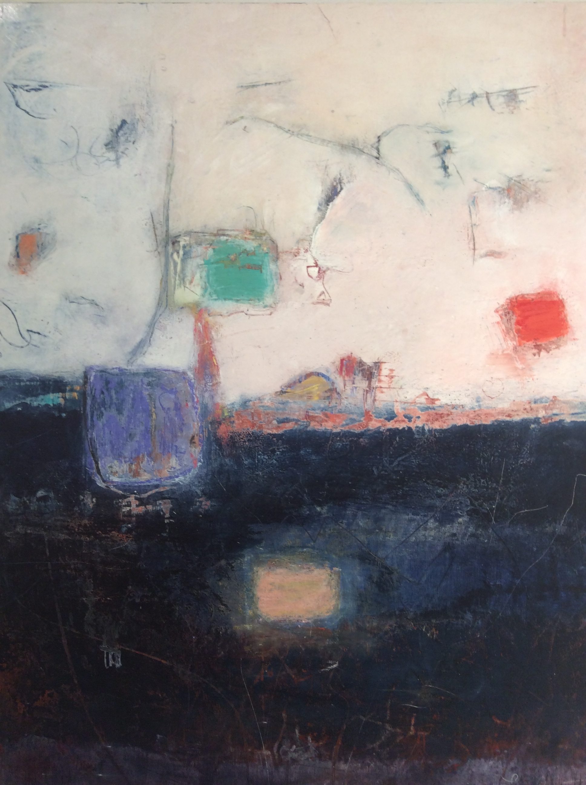 Harbour Lights IV  Oil, pastel, earth pigment & cold wax on wood. SOLD