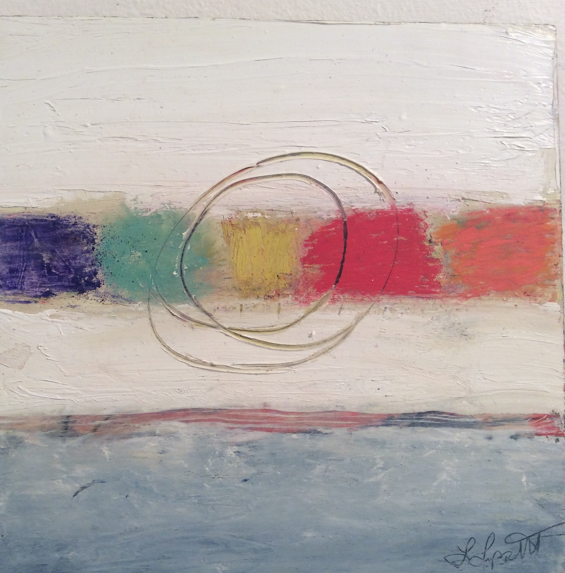 """Absolutely Perfect  8"""" x 8"""" Oil, pastel, earth pigment & cold wax on wood. SOLD"""
