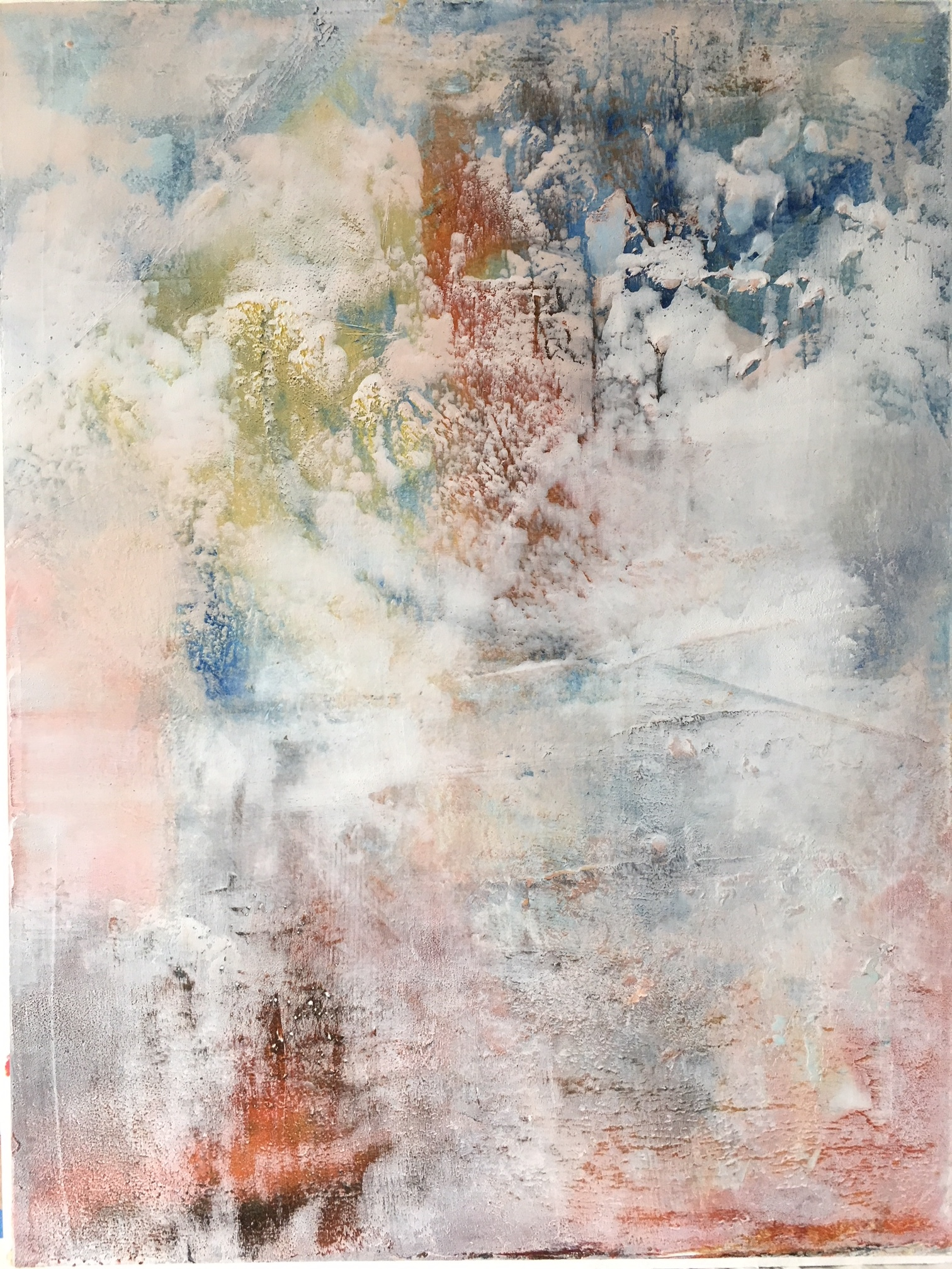 "BARB SIEGELE- ""The Promise"" Cold wax and oil pigment, 12x16  $325.00"