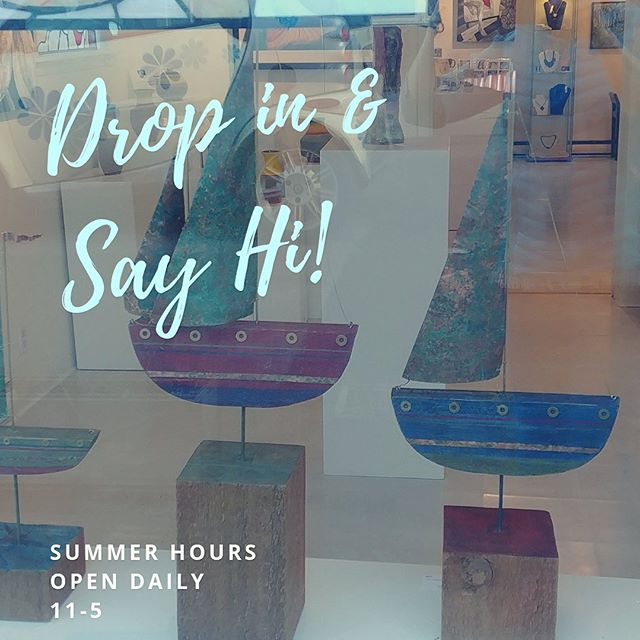 Summer Hours start today! #11-5daily #gallerylife #artpeople #bcartists #saltspringartists #sailboatart