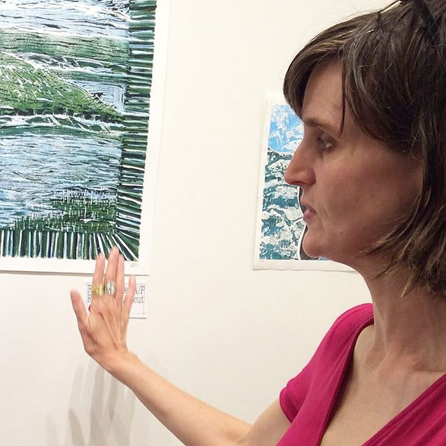 Meet the artist Evelyn Russell @cevelynr today 11-2. #printmaking #salishsea #artshow #meettheartist