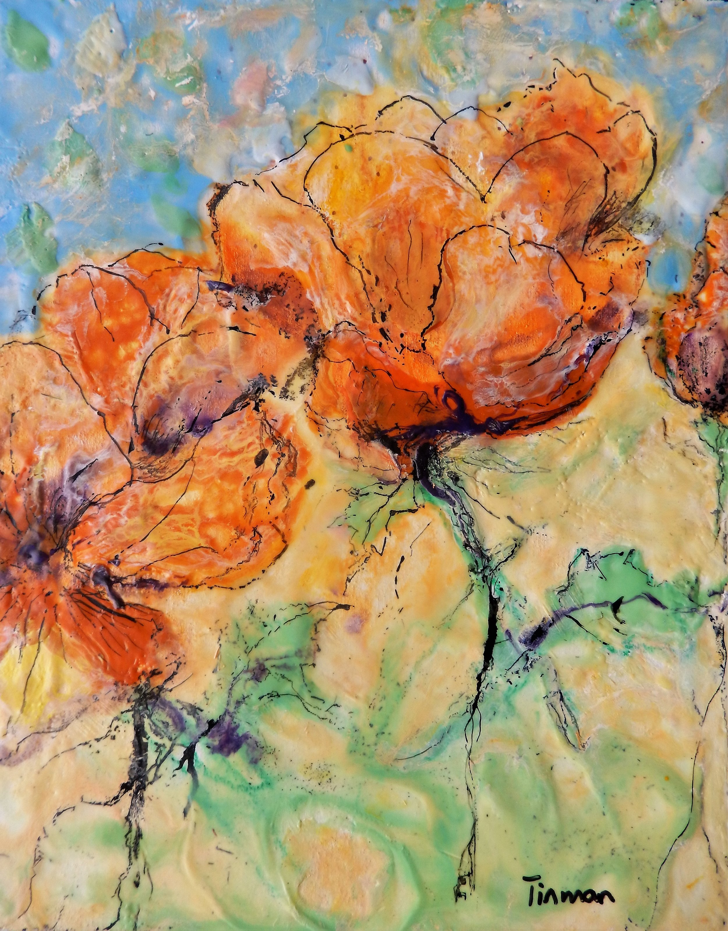 Pansy Duo-(detail) enacustic and oil