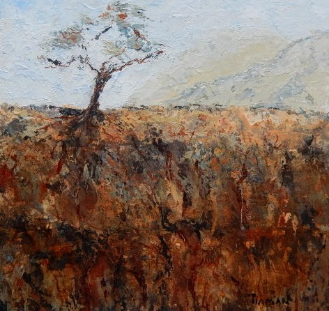 Solitary- oil on birch