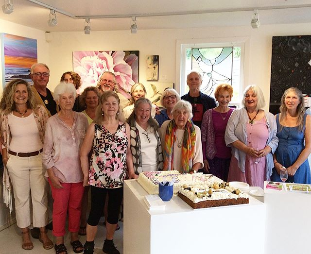 Gallery alumni and artists celebrated our 10th anniversary tonight. #partytime #funpeople #artfriends #artcoop #saltspringartists #bcartists